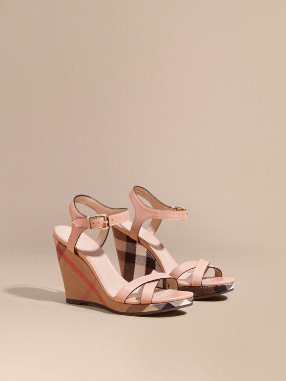 House Check Detail Leather Wedge Sandals in Nude Blush