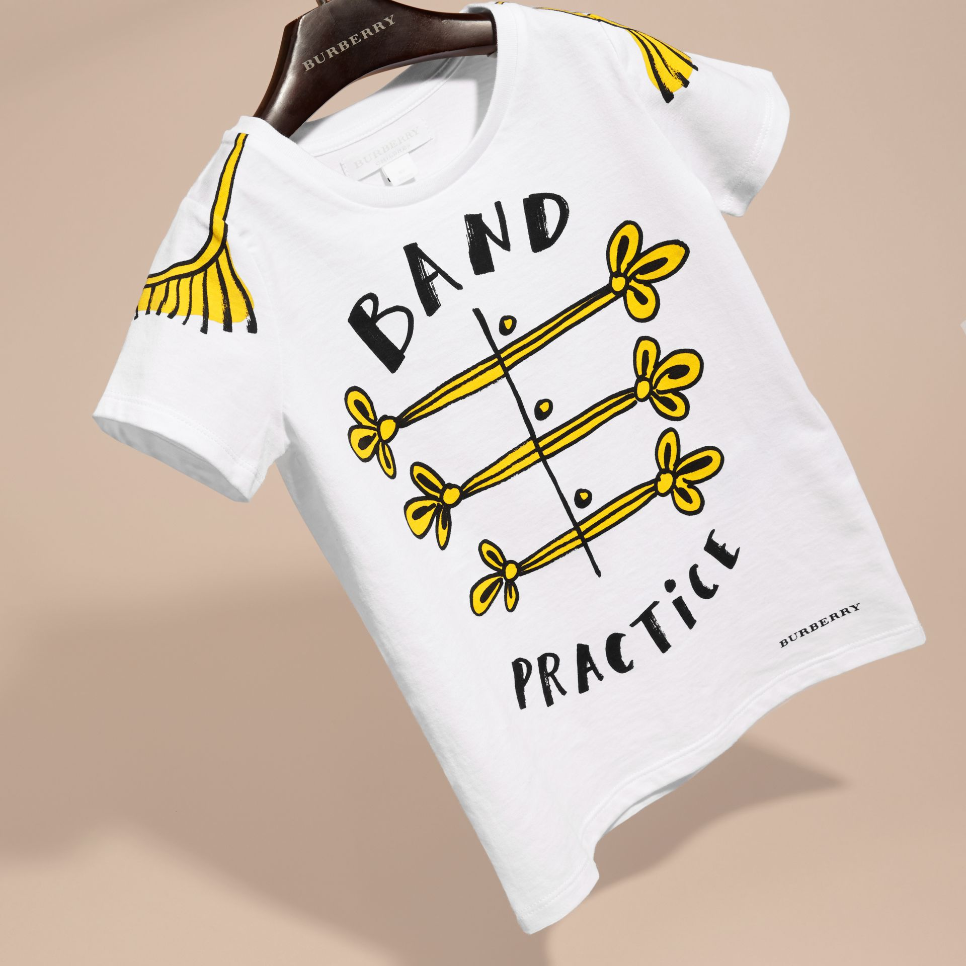 White Band Practice Motif Cotton T-Shirt - gallery image 3