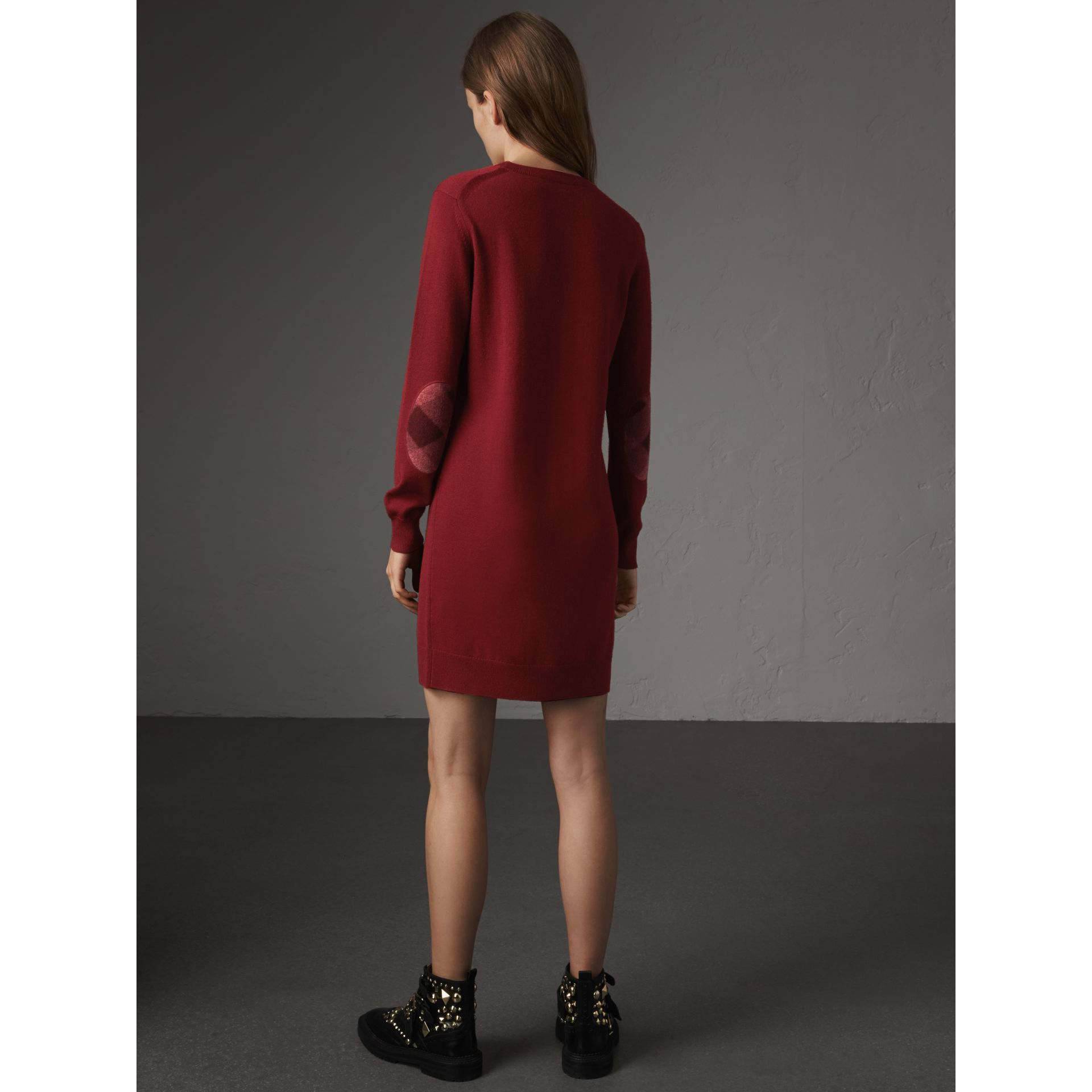 Check Elbow Detail Merino Wool Sweater Dress in Burgundy - Women | Burberry - gallery image 3