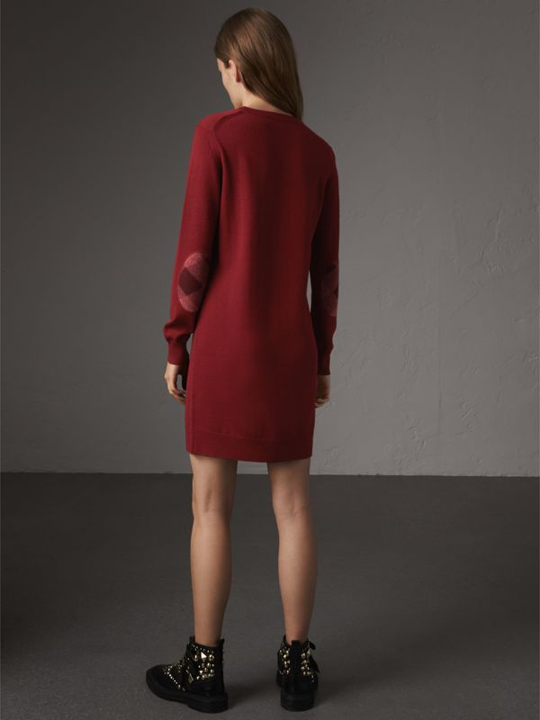 Check Elbow Detail Merino Wool Sweater Dress in Burgundy - Women | Burberry - cell image 2
