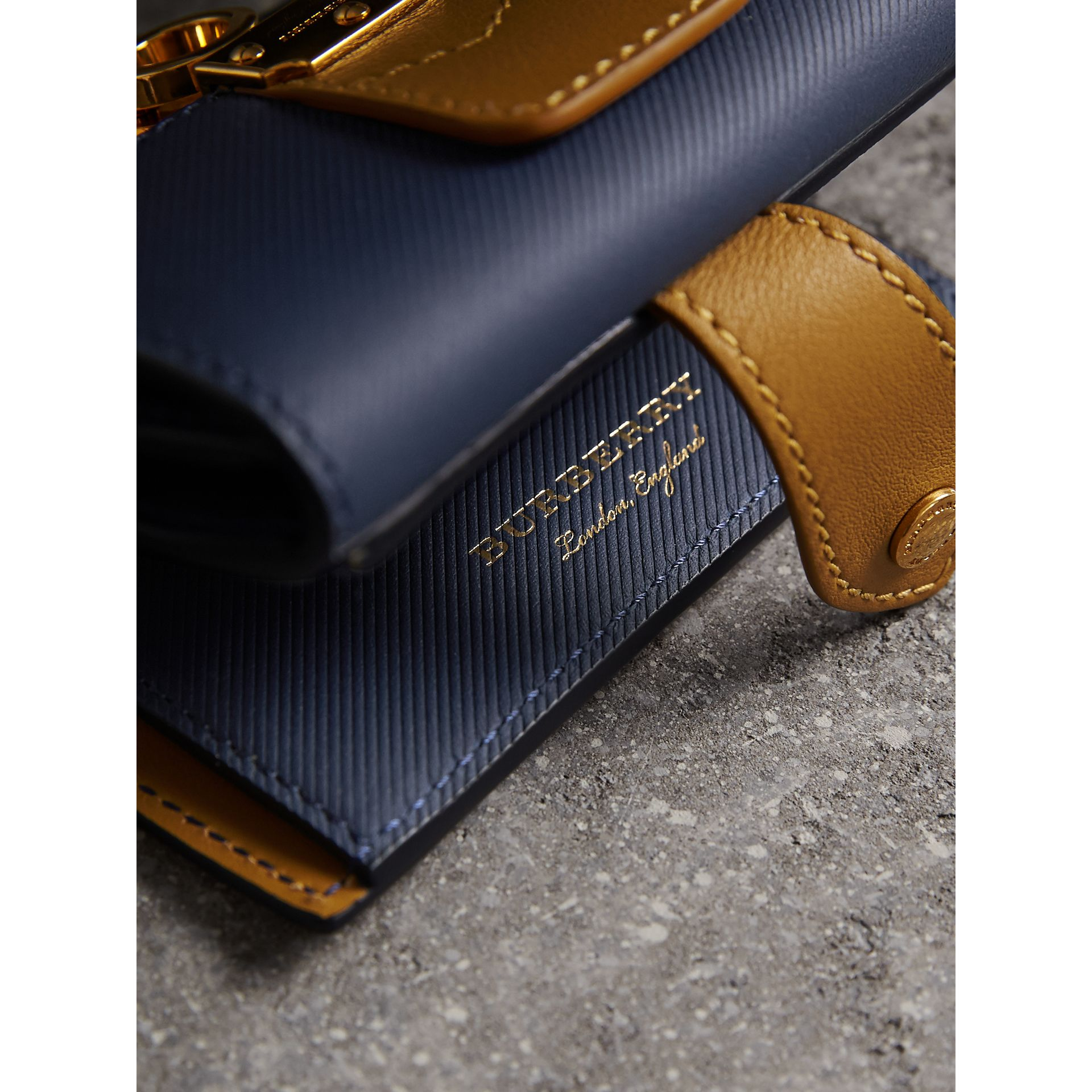 Two-tone Trench Leather Wallet in Ink Blue/ochre Yellow - Women | Burberry - gallery image 1