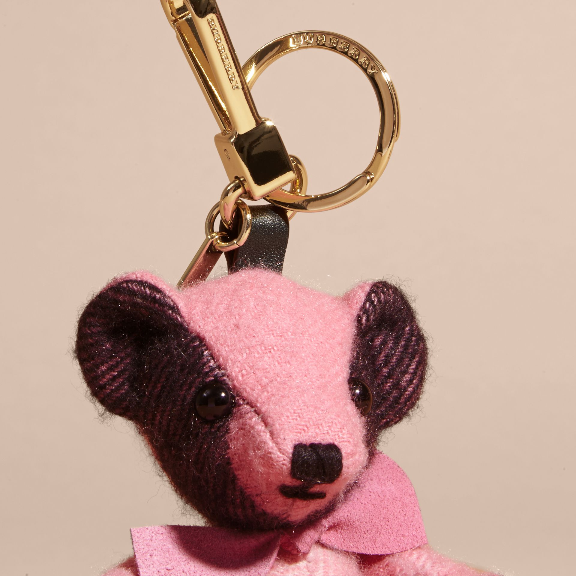 Thomas Bear Charm in Check Cashmere in Rose Pink - gallery image 2