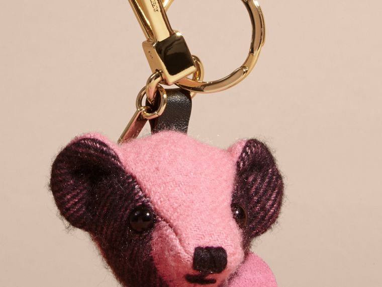 Thomas Bear Charm in Check Cashmere in Rose Pink - cell image 1