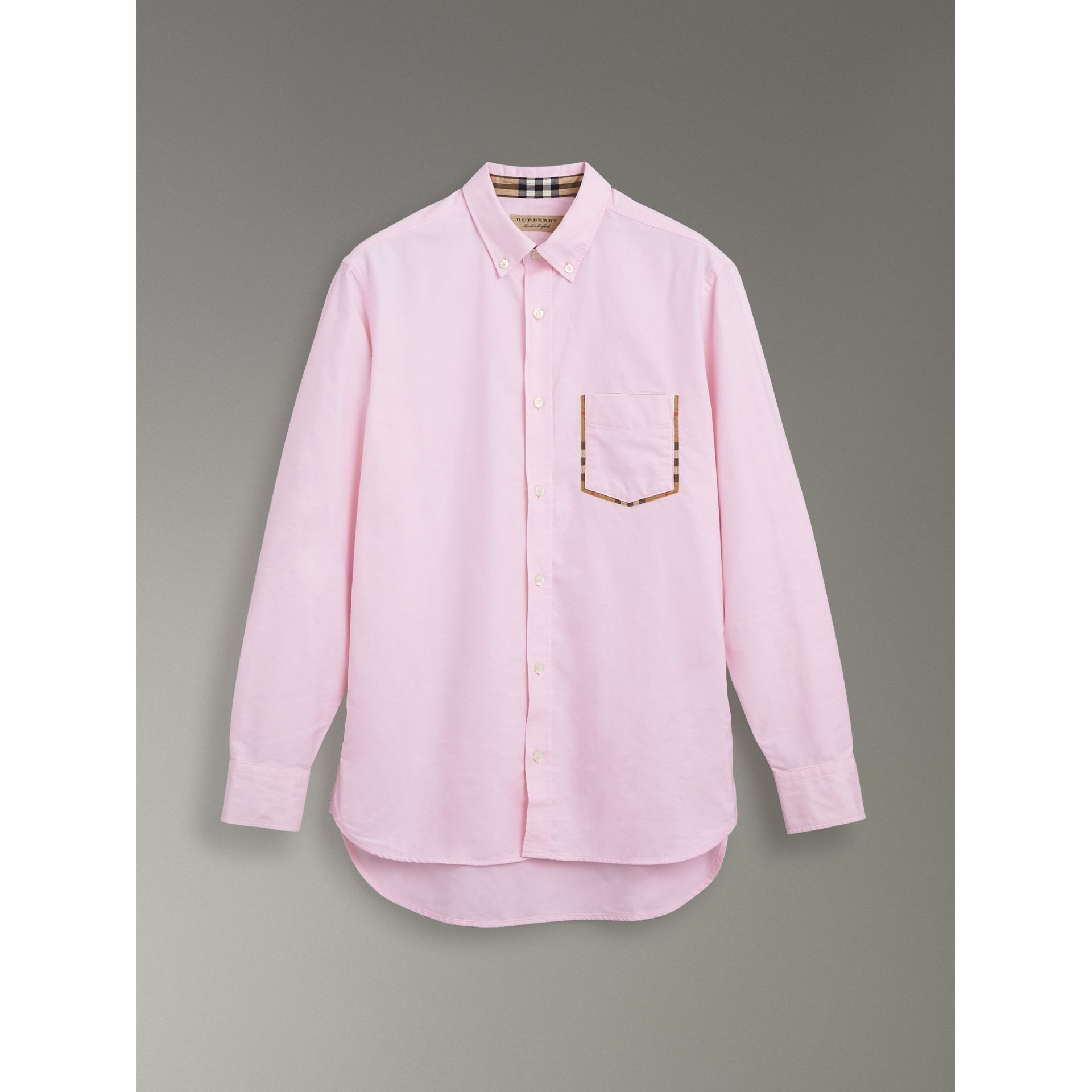 Check Detail Cotton Oxford Shirt in Pale Pink - Men | Burberry United Kingdom - gallery image 3