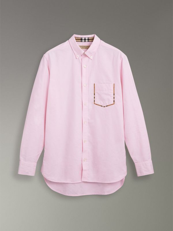 Check Detail Cotton Oxford Shirt in Pale Pink - Men | Burberry - cell image 3