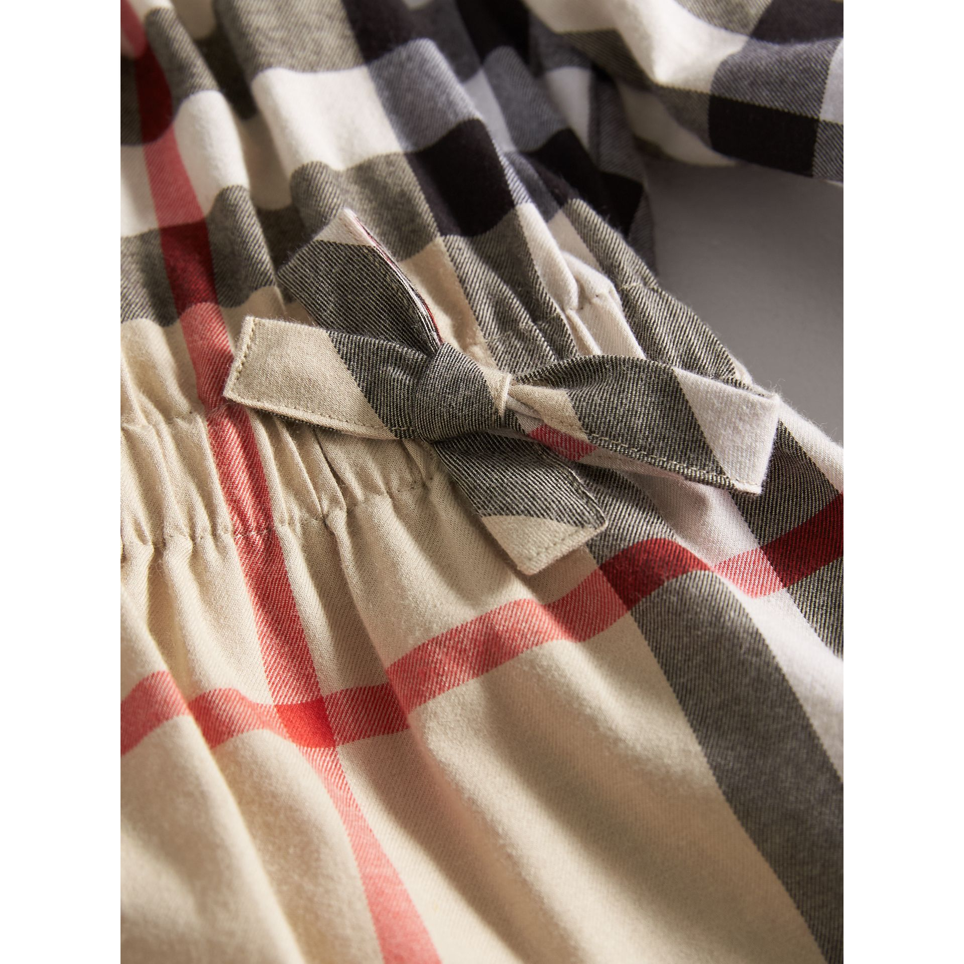 Gathered Check Cotton Flannel Dress in New Classic | Burberry - gallery image 2