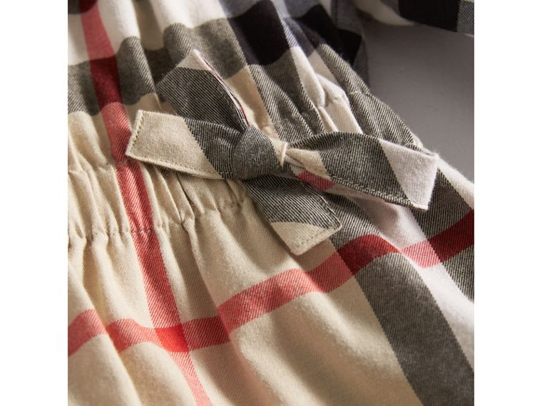 Gathered Check Cotton Flannel Dress in New Classic | Burberry - cell image 1