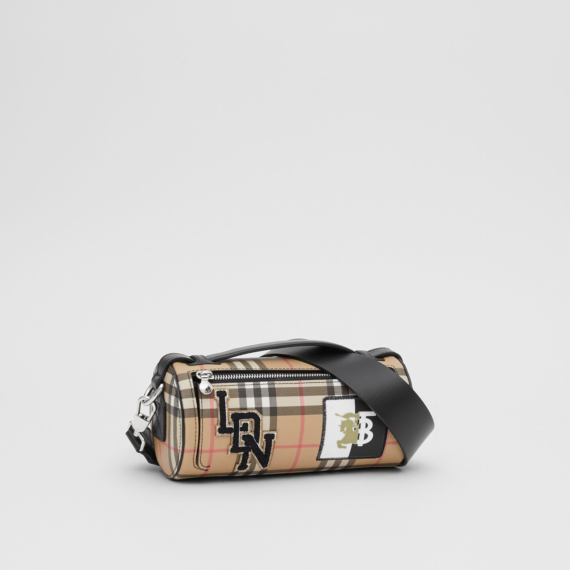The Vintage Check E-canvas and Leather Barrel Bag in Archive Beige - Women | Burberry United States - gallery image 6