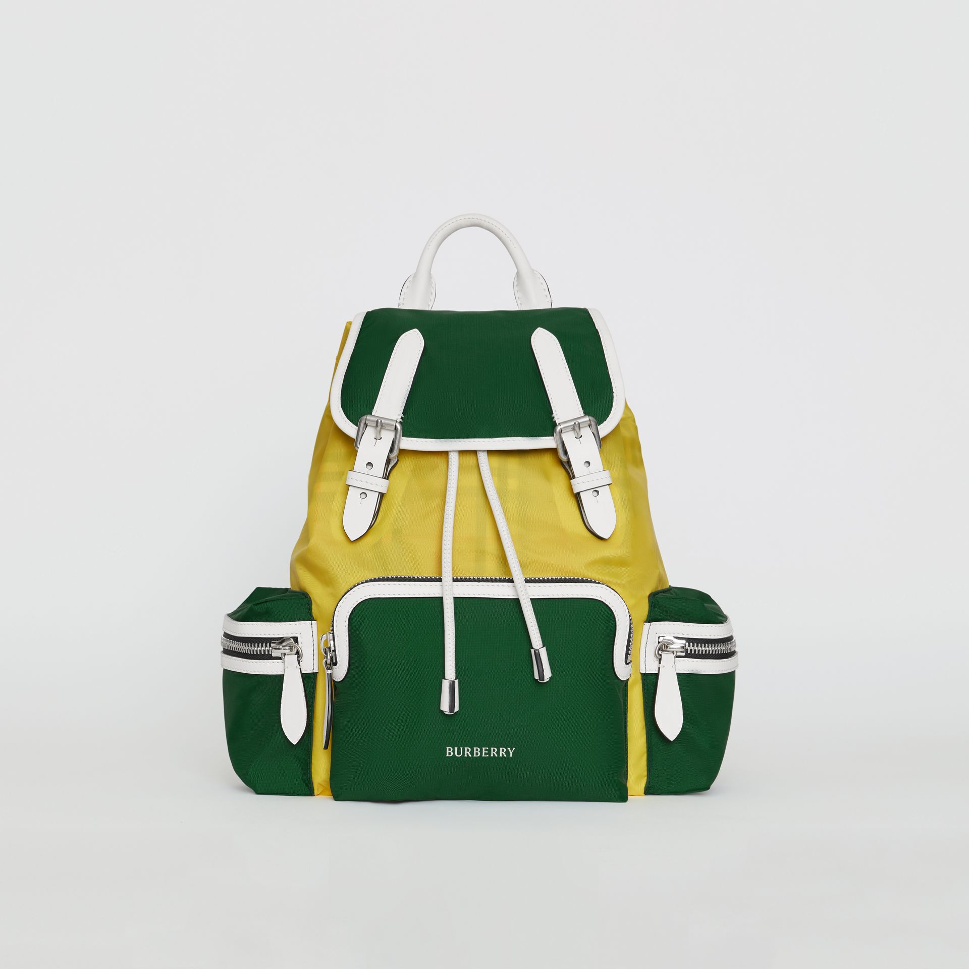 The Medium Rucksack in Colour Block Nylon and Leather in Pine Green - Women | Burberry United States - gallery image 0