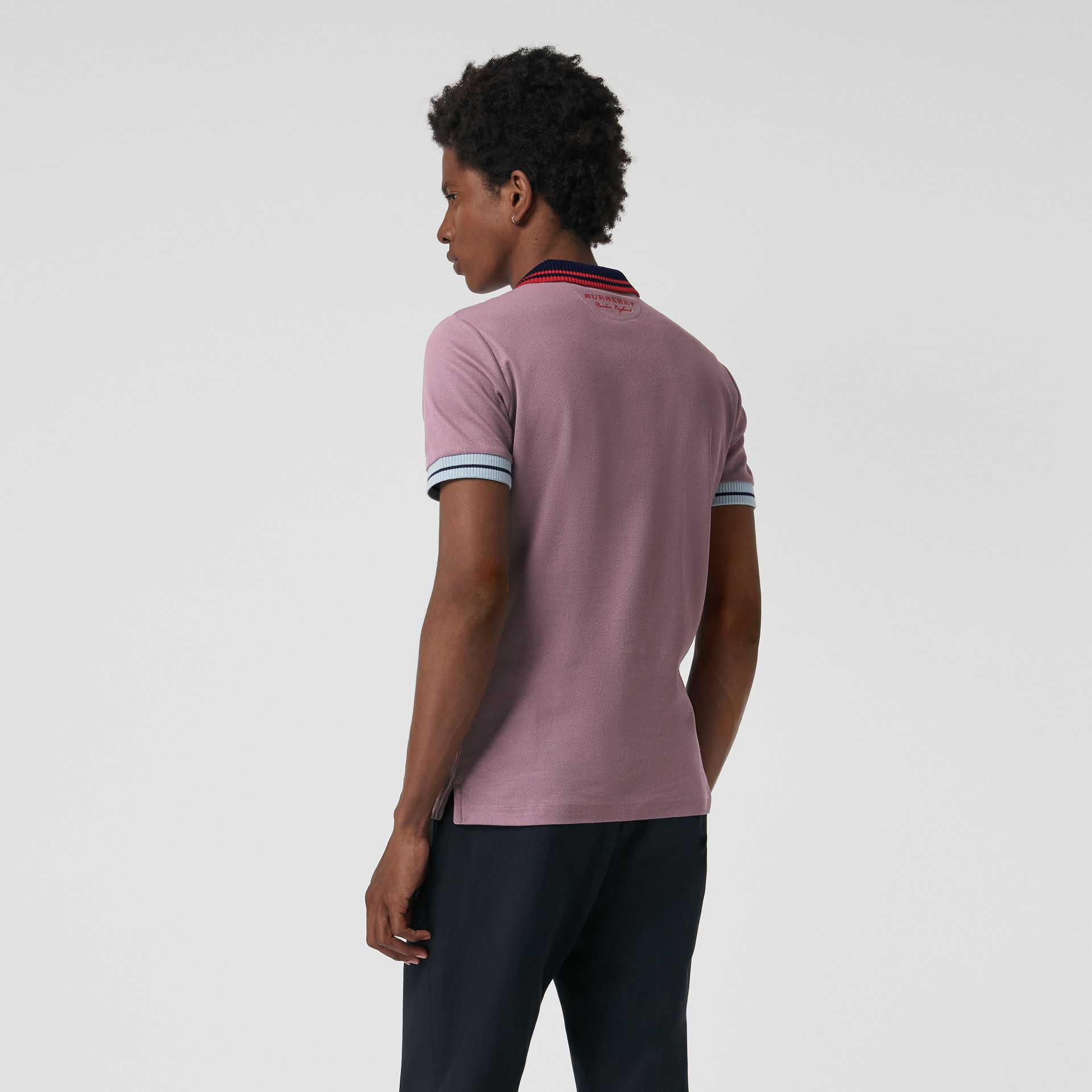 Two-tone Stripe Knitted Detail Cotton Polo Shirt in Heather Pink - Men | Burberry - gallery image 2