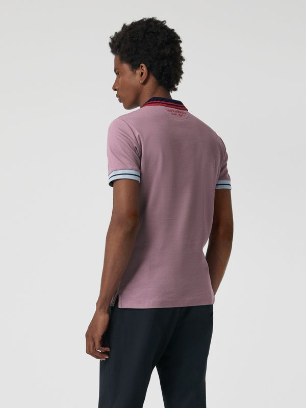 Two-tone Stripe Knitted Detail Cotton Polo Shirt in Heather Pink - Men | Burberry - cell image 2