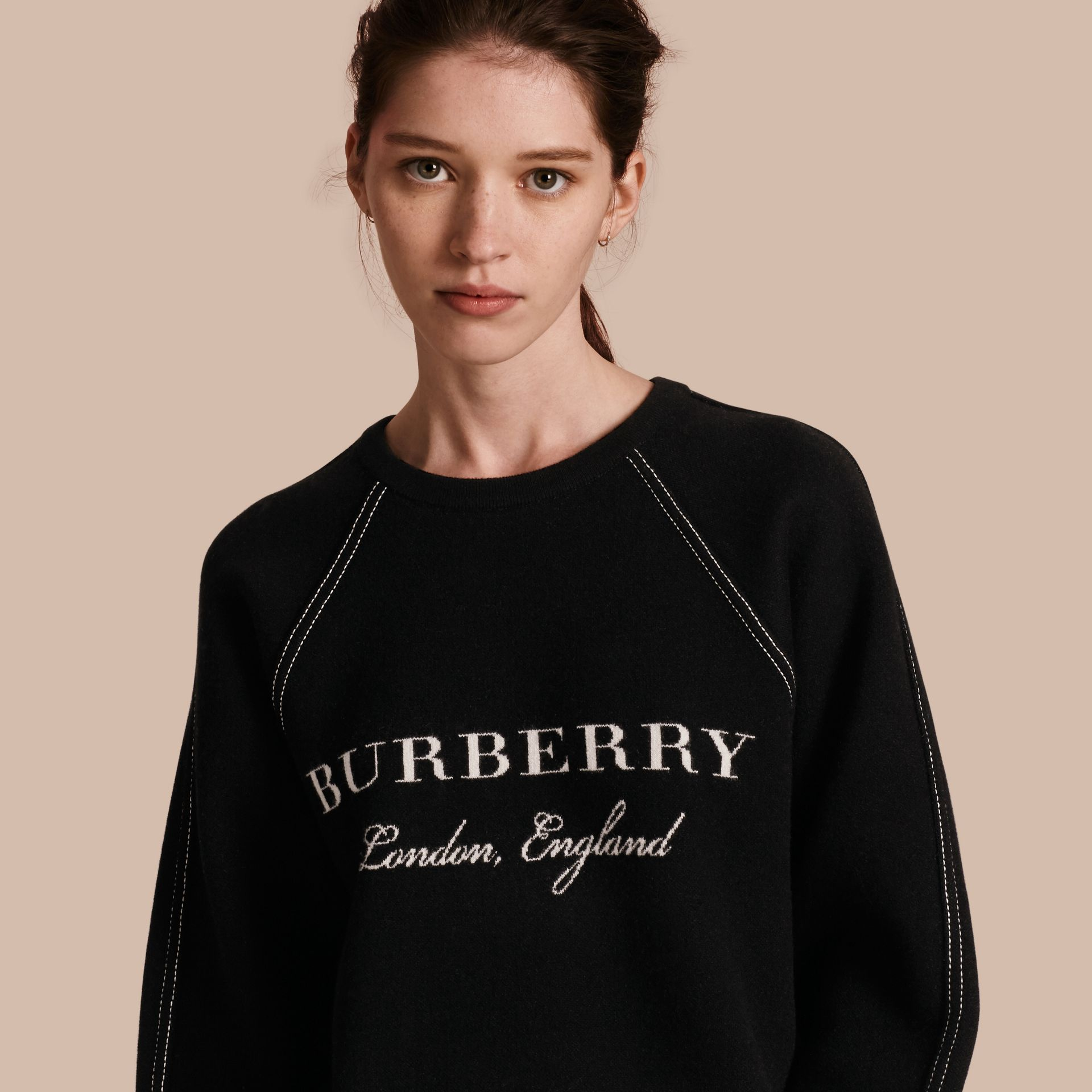 Topstitch Detail Wool Cashmere Blend Sweater in Black - Women | Burberry - gallery image 1