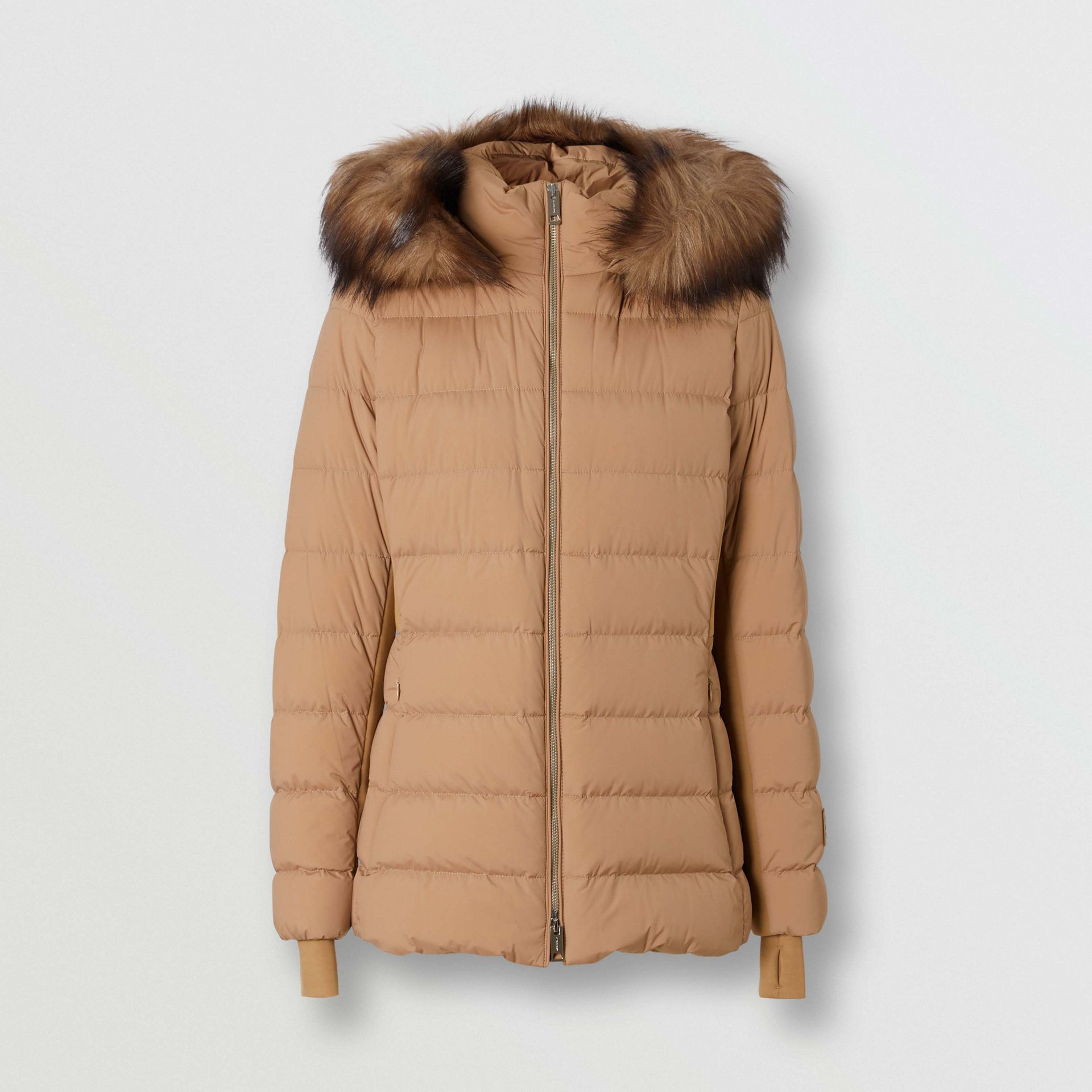 Faux Fur Trim Detachable Hood Puffer Jacket in Soft Camel - Women | Burberry United Kingdom - gallery image 3