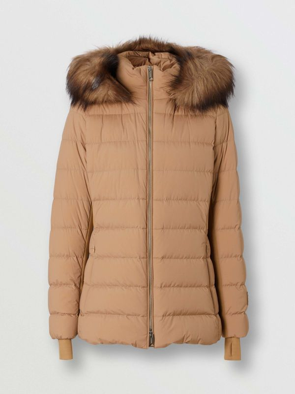 Faux Fur Trim Detachable Hood Puffer Jacket in Soft Camel - Women | Burberry United Kingdom - cell image 3
