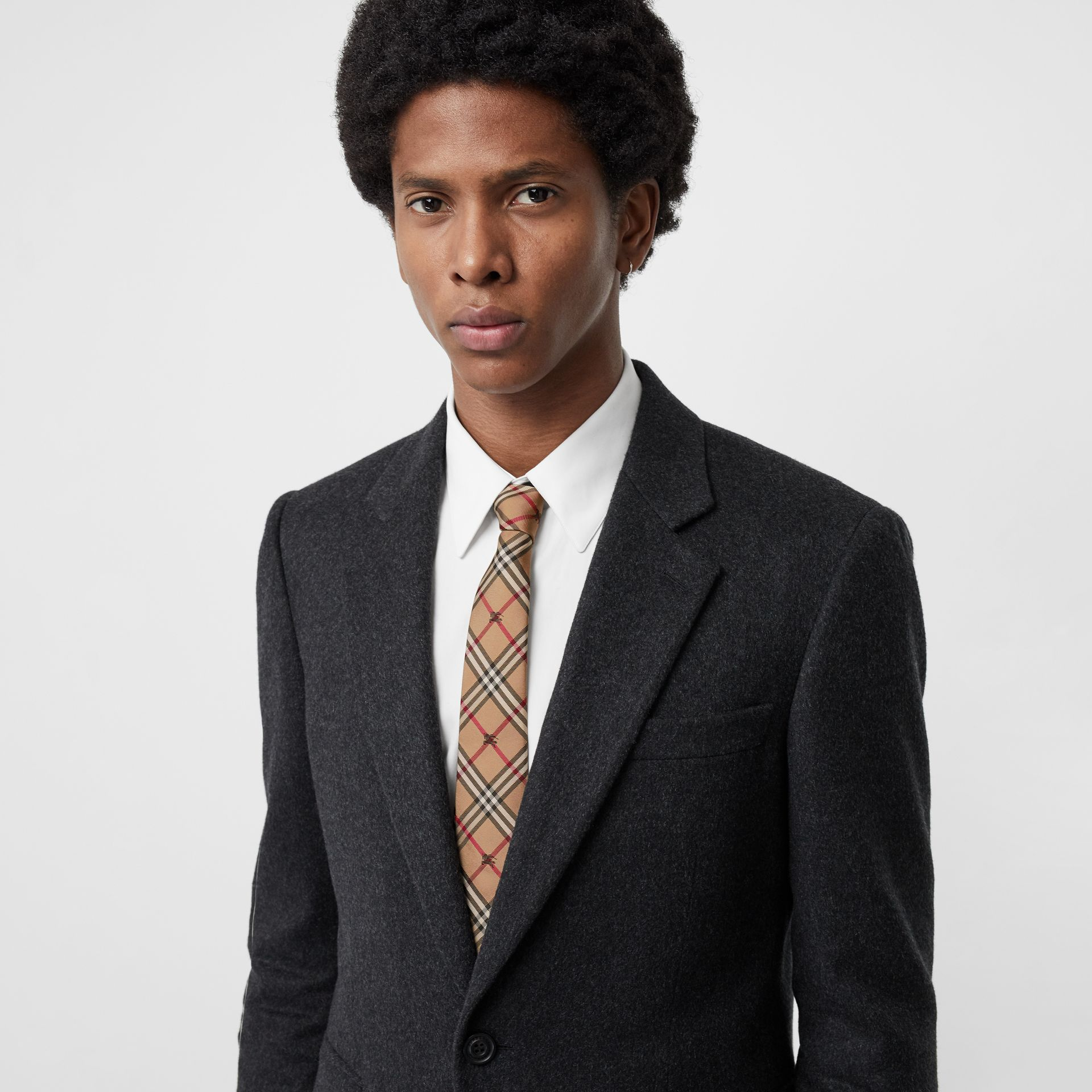 Slim Cut Equestrian Knight Check Silk Tie in Camel - Men | Burberry United Kingdom - gallery image 2