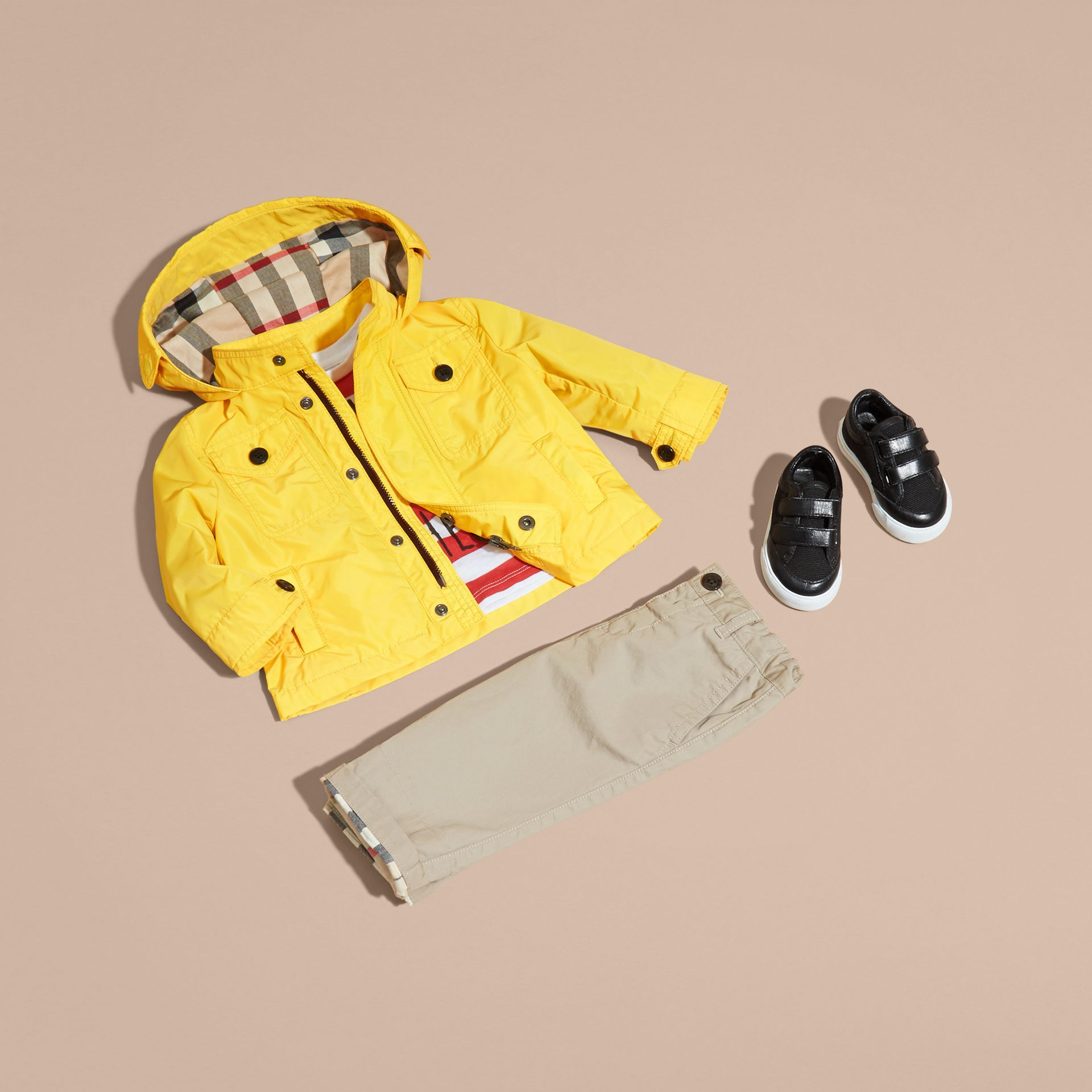 Bright yellow Hooded Technical Jacket Bright Yellow - gallery image 5