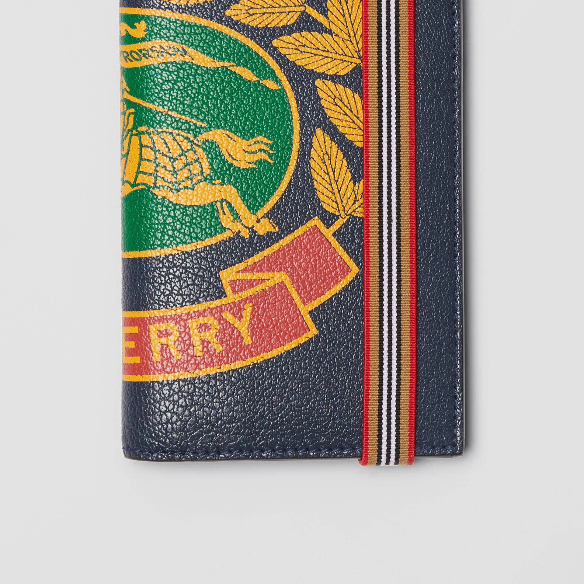 Crest Print Leather Continental Wallet in Storm Blue - Men | Burberry - gallery image 1