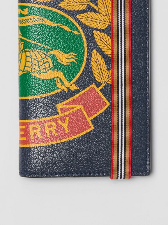 Crest Print Leather Continental Wallet in Storm Blue - Men | Burberry - cell image 1