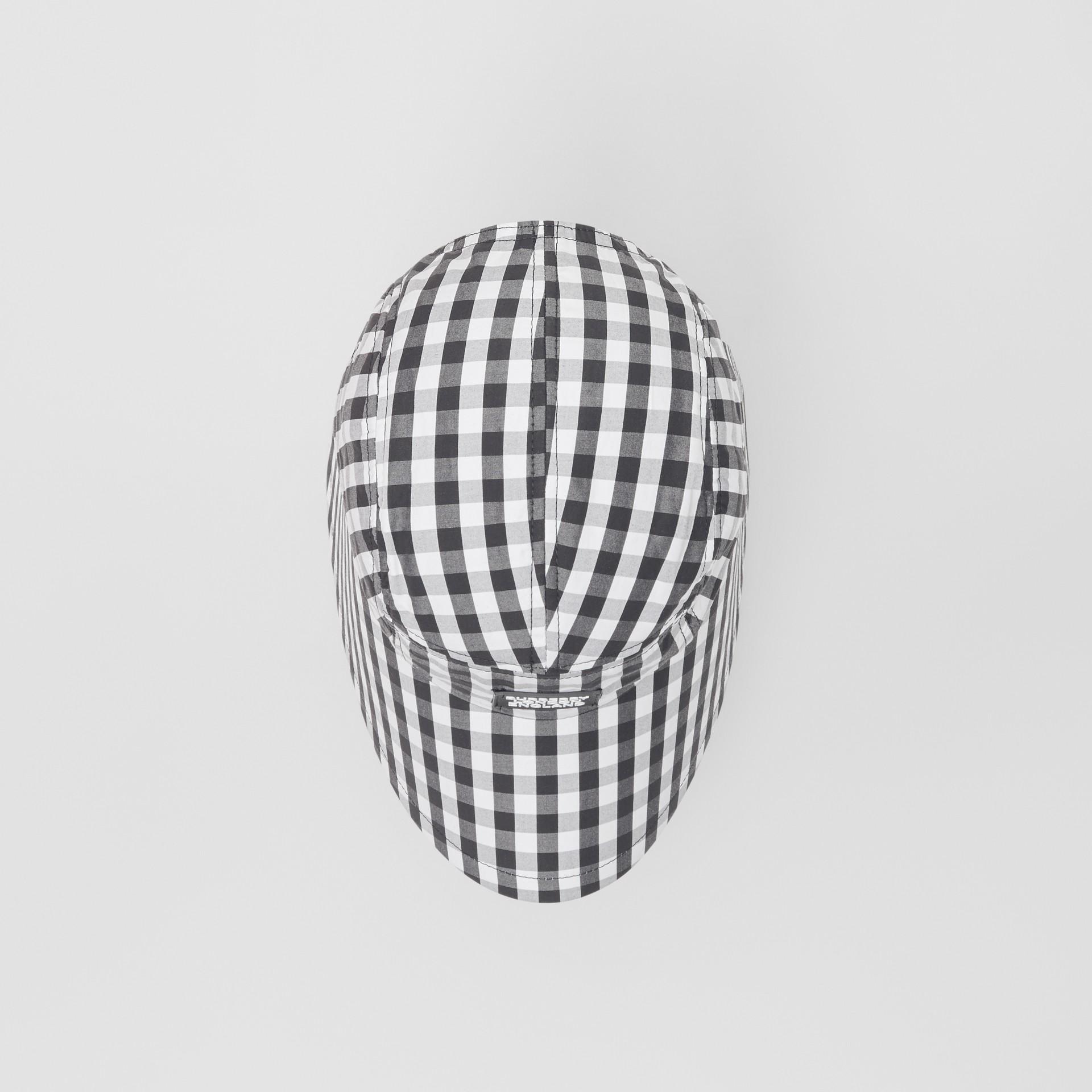 Logo Appliqué Gingham Cotton Bonnet Cap in Black/white | Burberry - gallery image 4