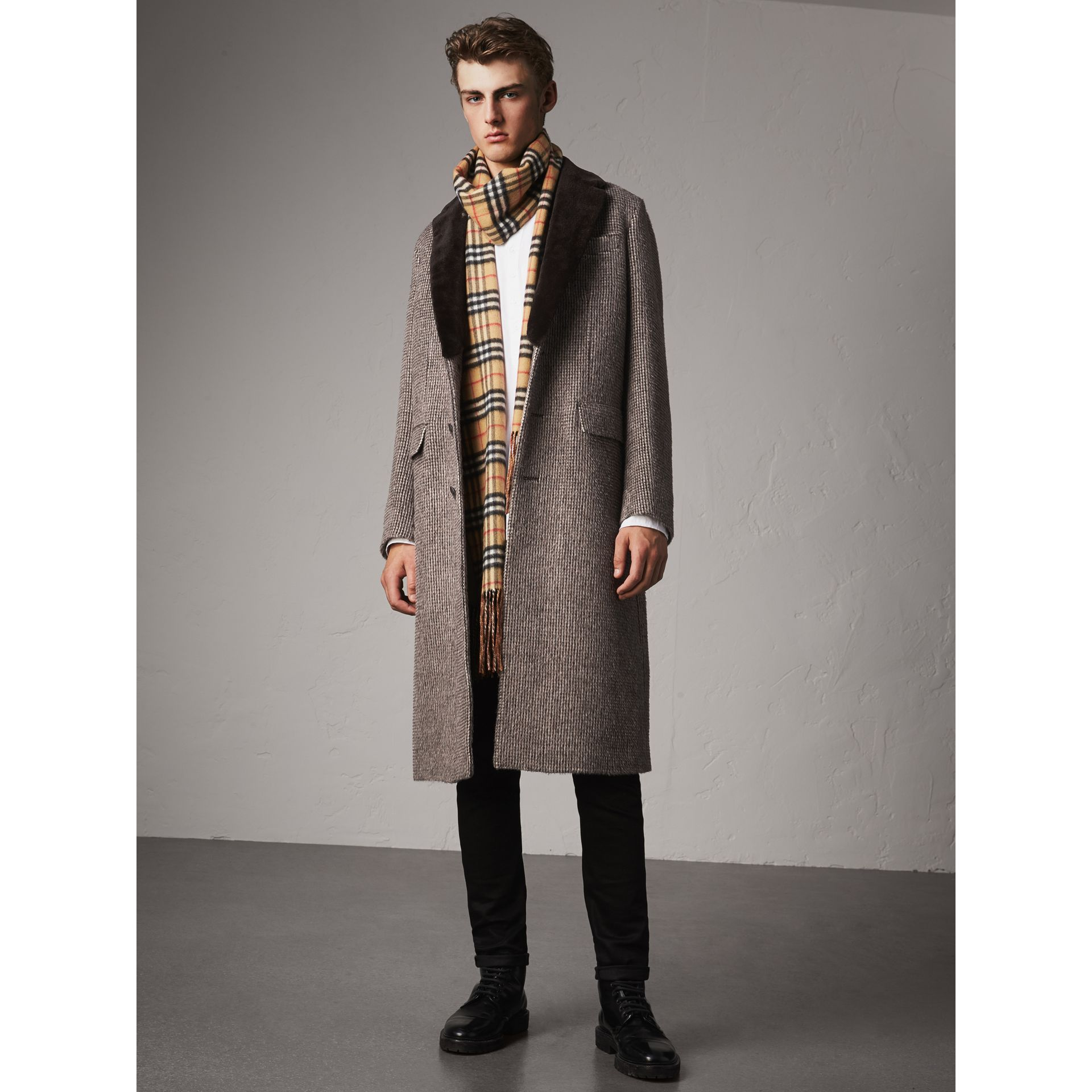 Detachable Mink Collar Alpaca Wool Tailored Coat in Dark Brown - Men | Burberry United Kingdom - gallery image 0