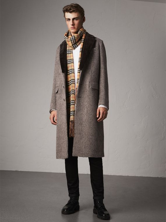 Detachable Mink Collar Alpaca Wool Tailored Coat in Dark Brown