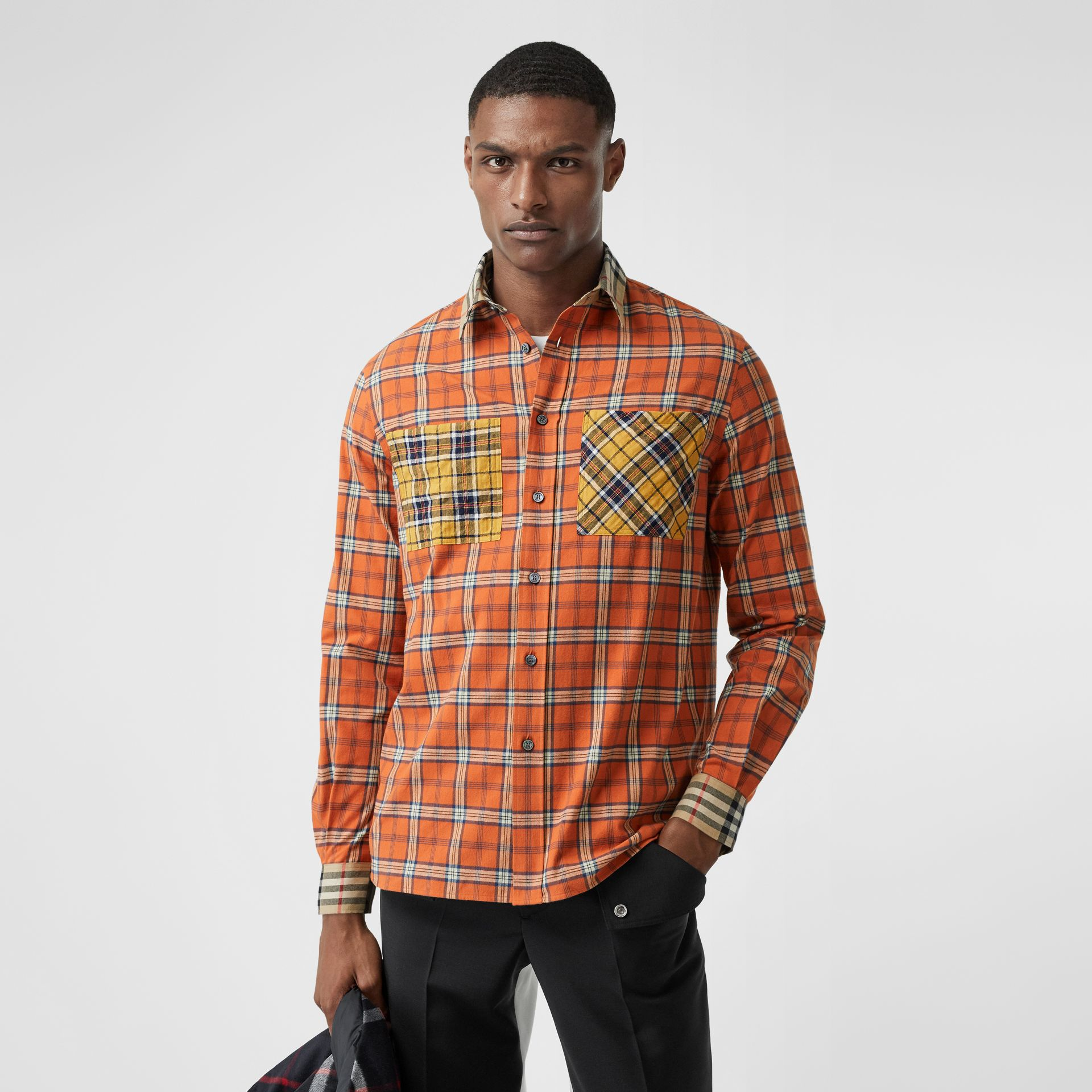 Contrast Check Cotton Flannel Oversized Shirt in Orange - Men | Burberry - gallery image 5