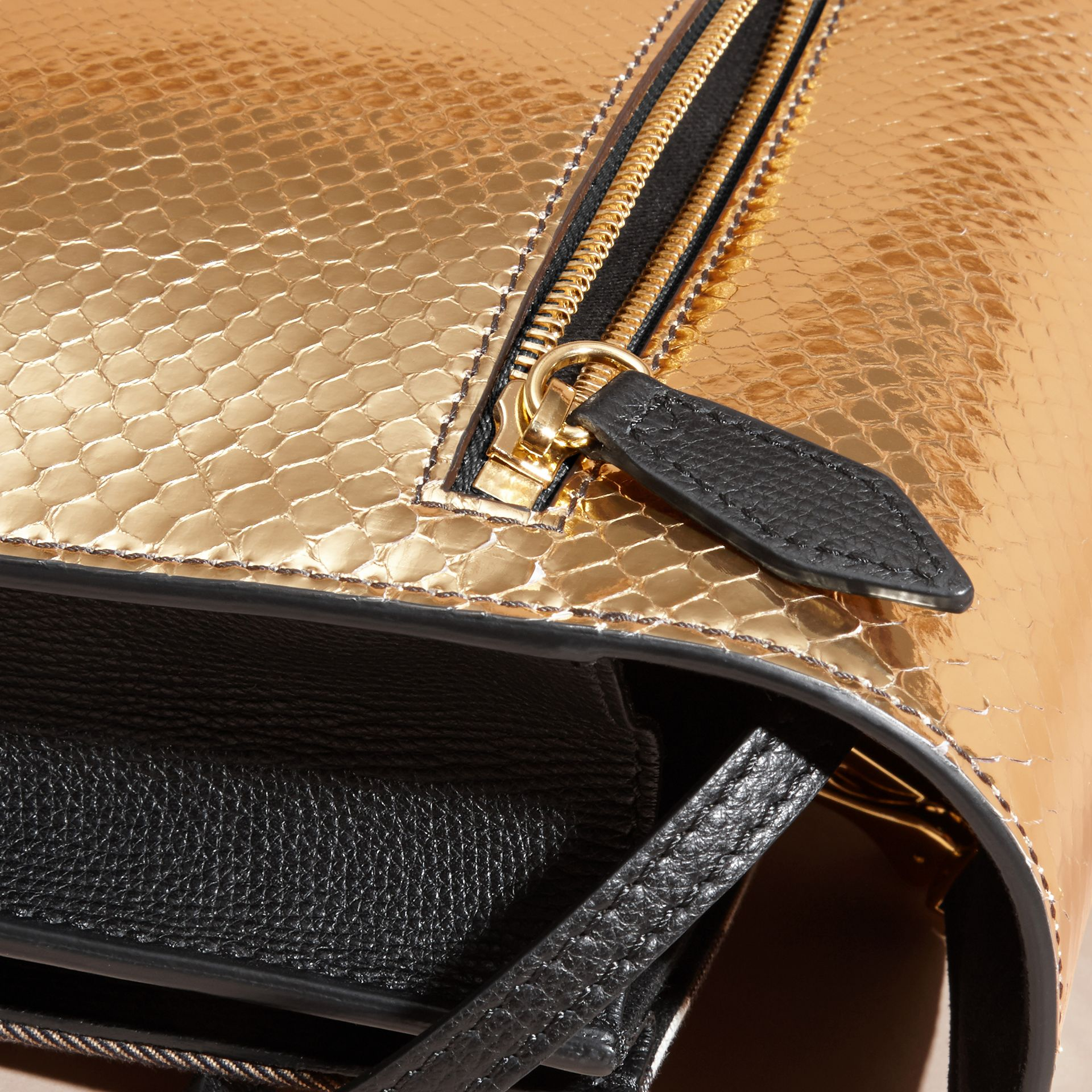 Gold/ black Small Metallic Python and House Check Crossbody Bag - gallery image 9