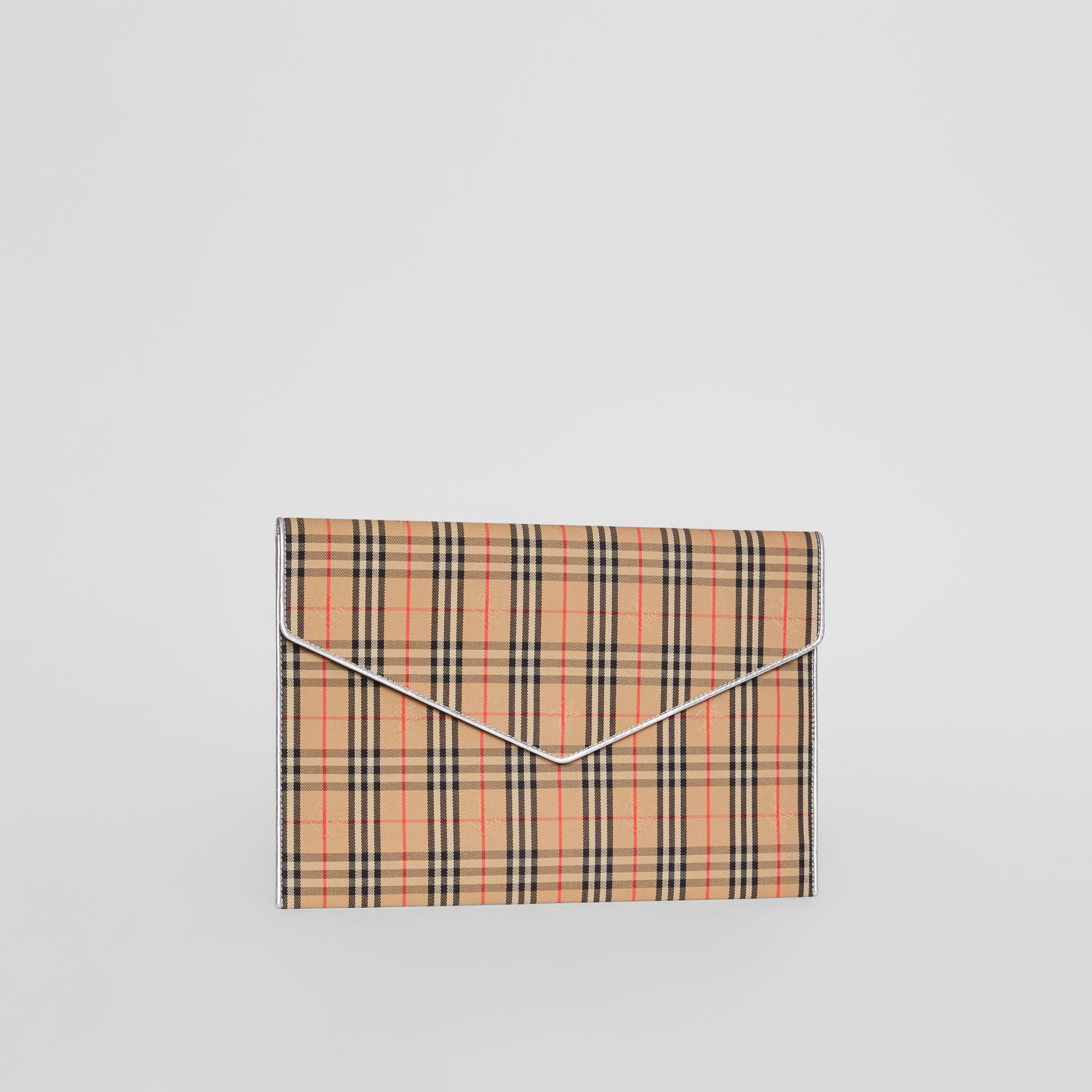 Large 1983 Check Envelope Pouch in Silver - Women | Burberry - gallery image 6