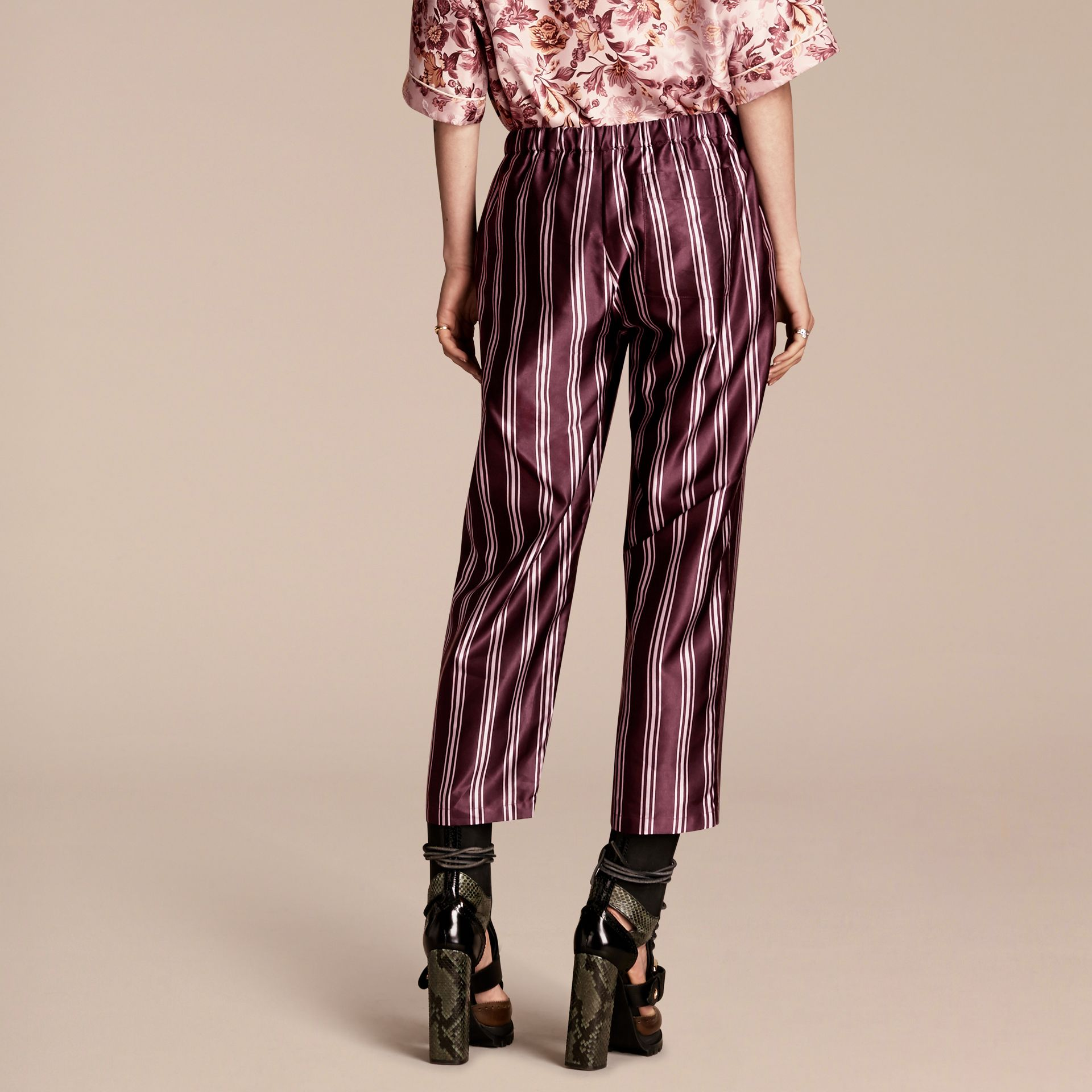 Crimson Panama Stripe Cropped Cotton Silk Satin Pyjama-style Trousers - gallery image 3