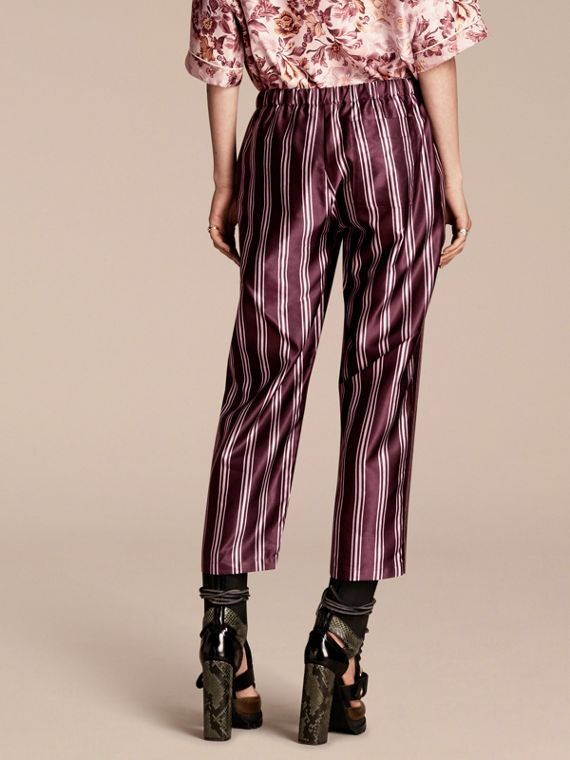 Crimson Panama Stripe Cropped Cotton Silk Satin Pyjama-style Trousers - cell image 2