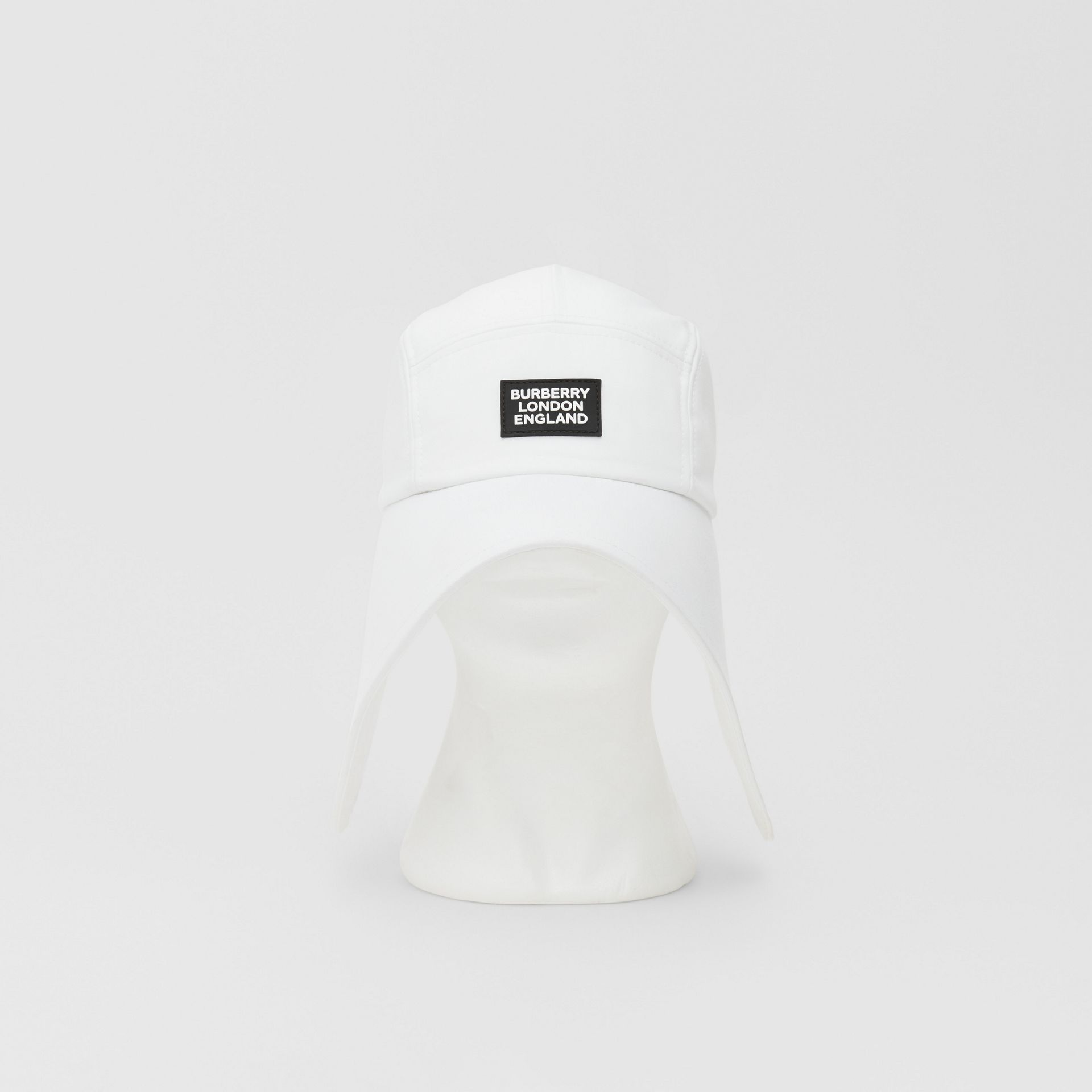 Logo Appliqué Cotton Bonnet Cap in Optic White | Burberry United States - gallery image 0