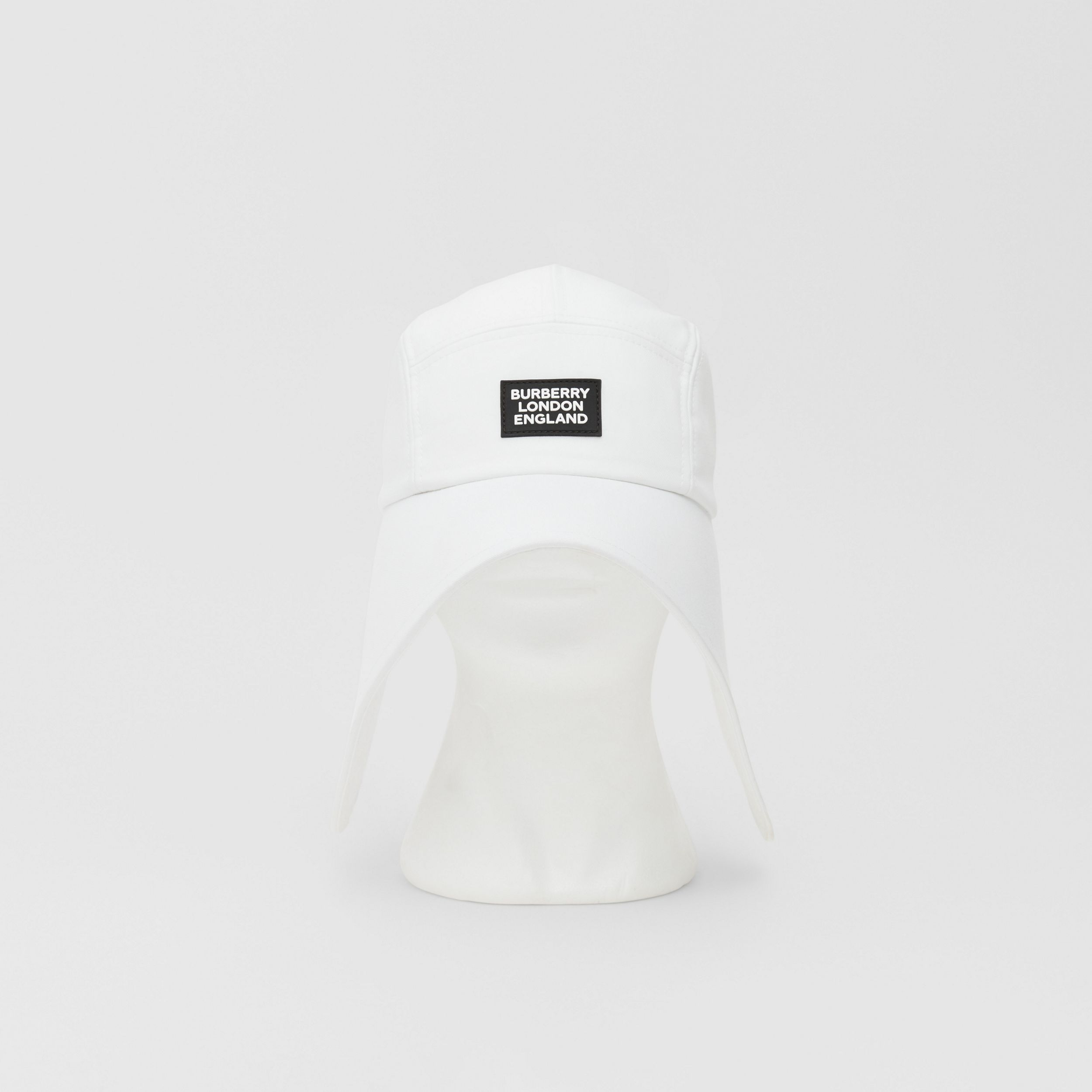 Logo Appliqué Cotton Bonnet Cap in Optic White | Burberry Singapore - 1