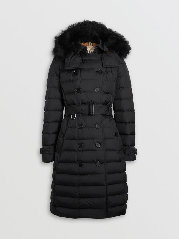 Detachable Hood Down-filled Puffer Coat in Black - Women | Burberry United States - cell image 3