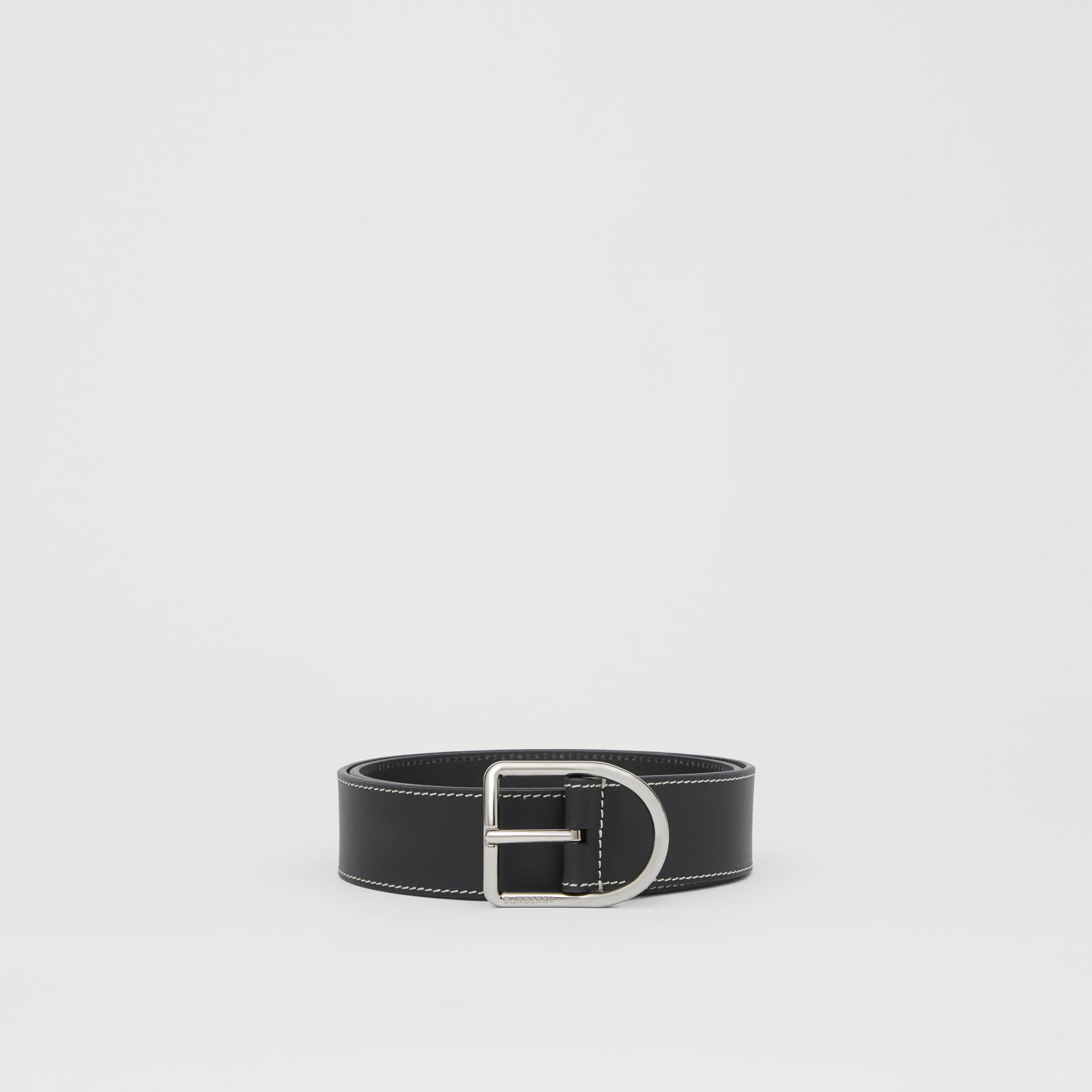 Topstitch Detail Leather Belt in Black - Men | Burberry - gallery image 3