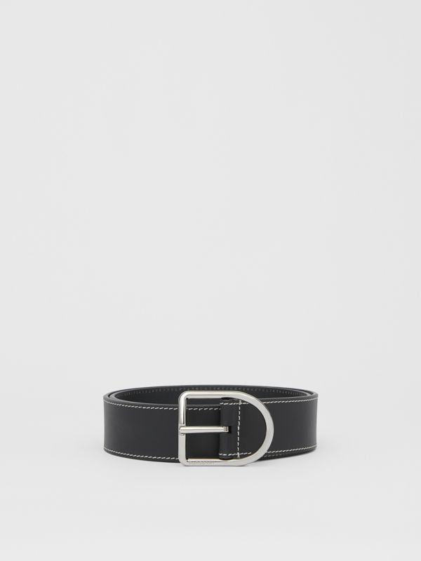 Topstitch Detail Leather Belt in Black - Men | Burberry Australia - cell image 3
