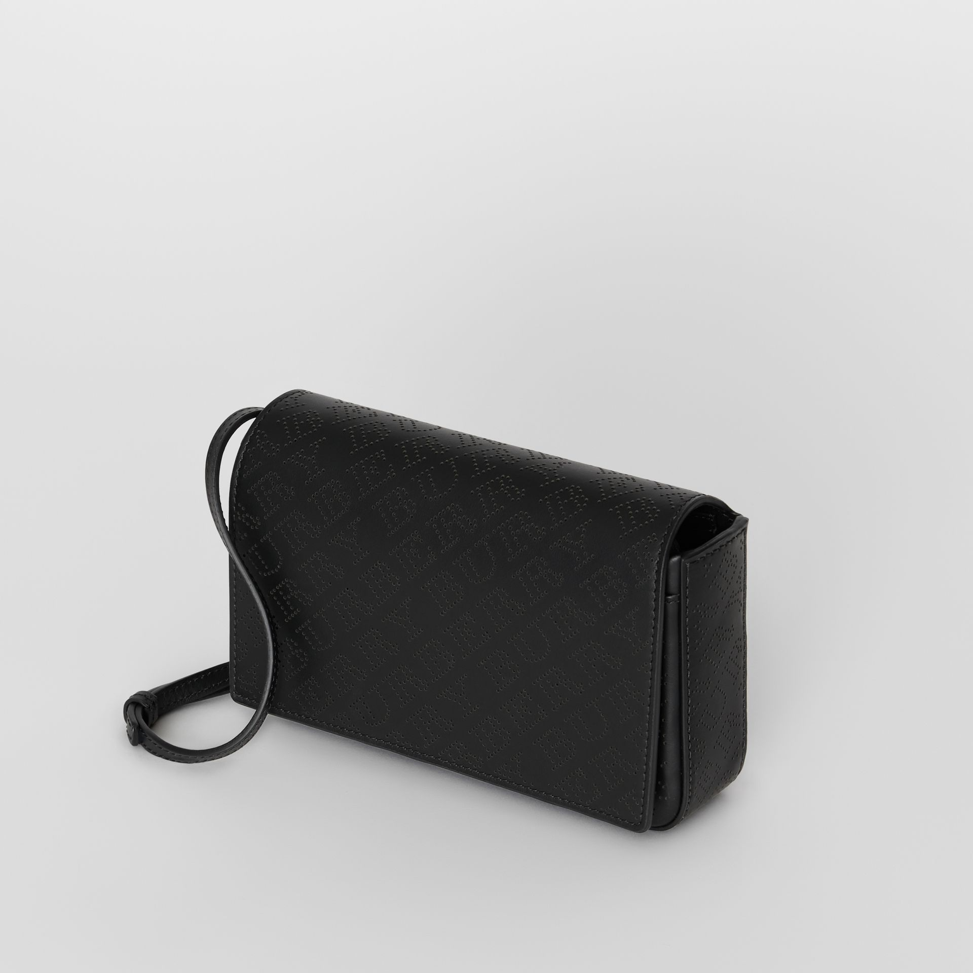 Perforated Logo Leather Wallet with Detachable Strap in Black - Women | Burberry United States - gallery image 2