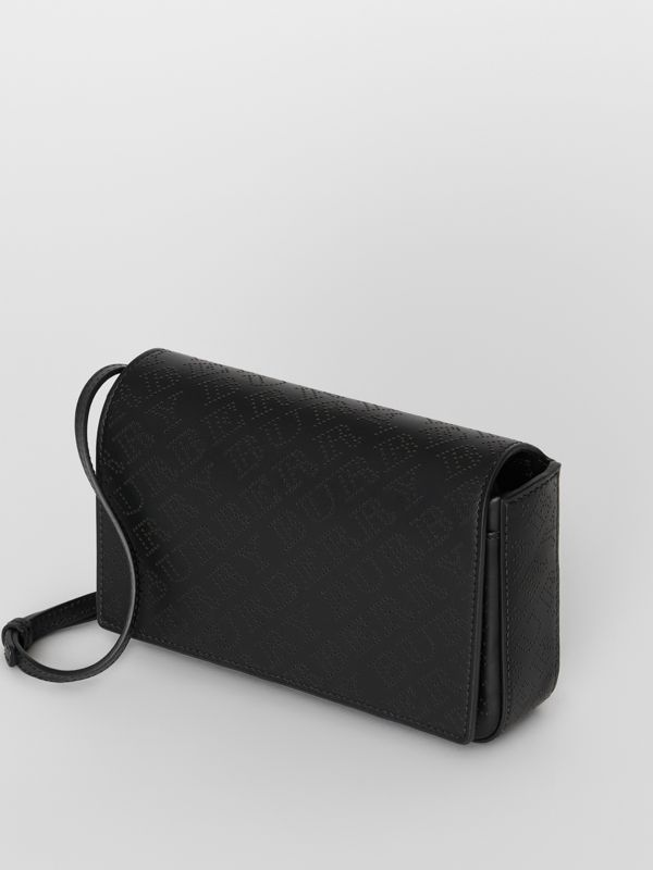 Perforated Logo Leather Wallet with Detachable Strap in Black - Women | Burberry - cell image 2