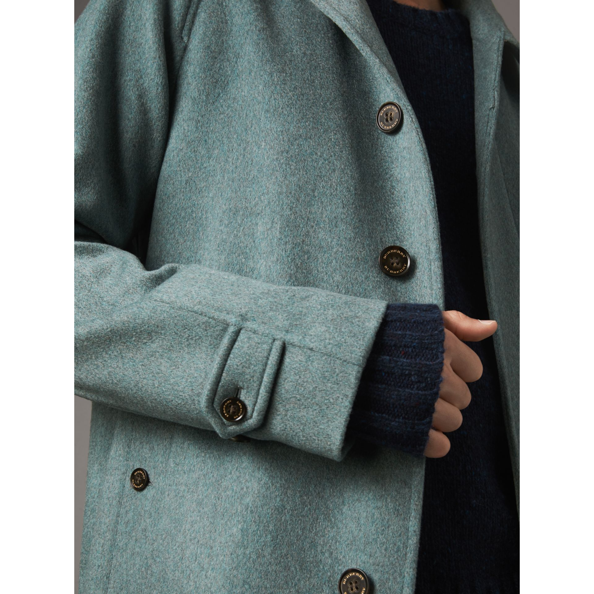Cashmere Car Coat in Storm Green Melange - Men | Burberry Australia - gallery image 6
