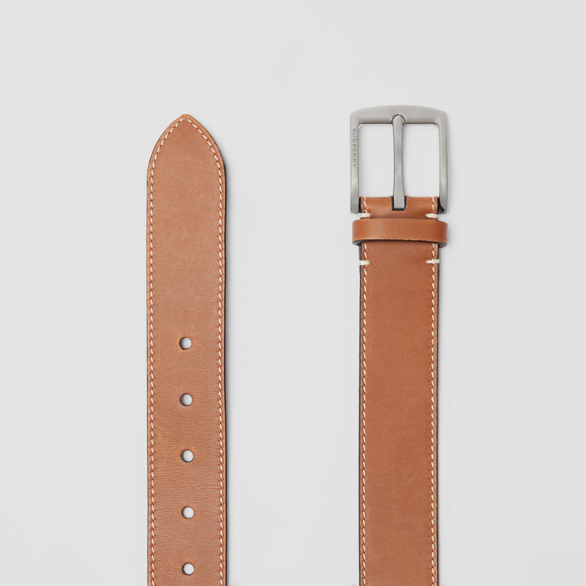 Topstitched Leather Belt in Tan - Men | Burberry United States - gallery image 5