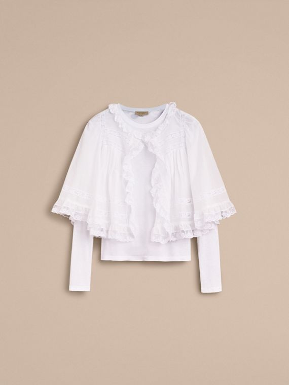 Lace Detail Ruffle Cape Overlay Long-sleeve Cotton Top in Natural White - Women | Burberry - cell image 3
