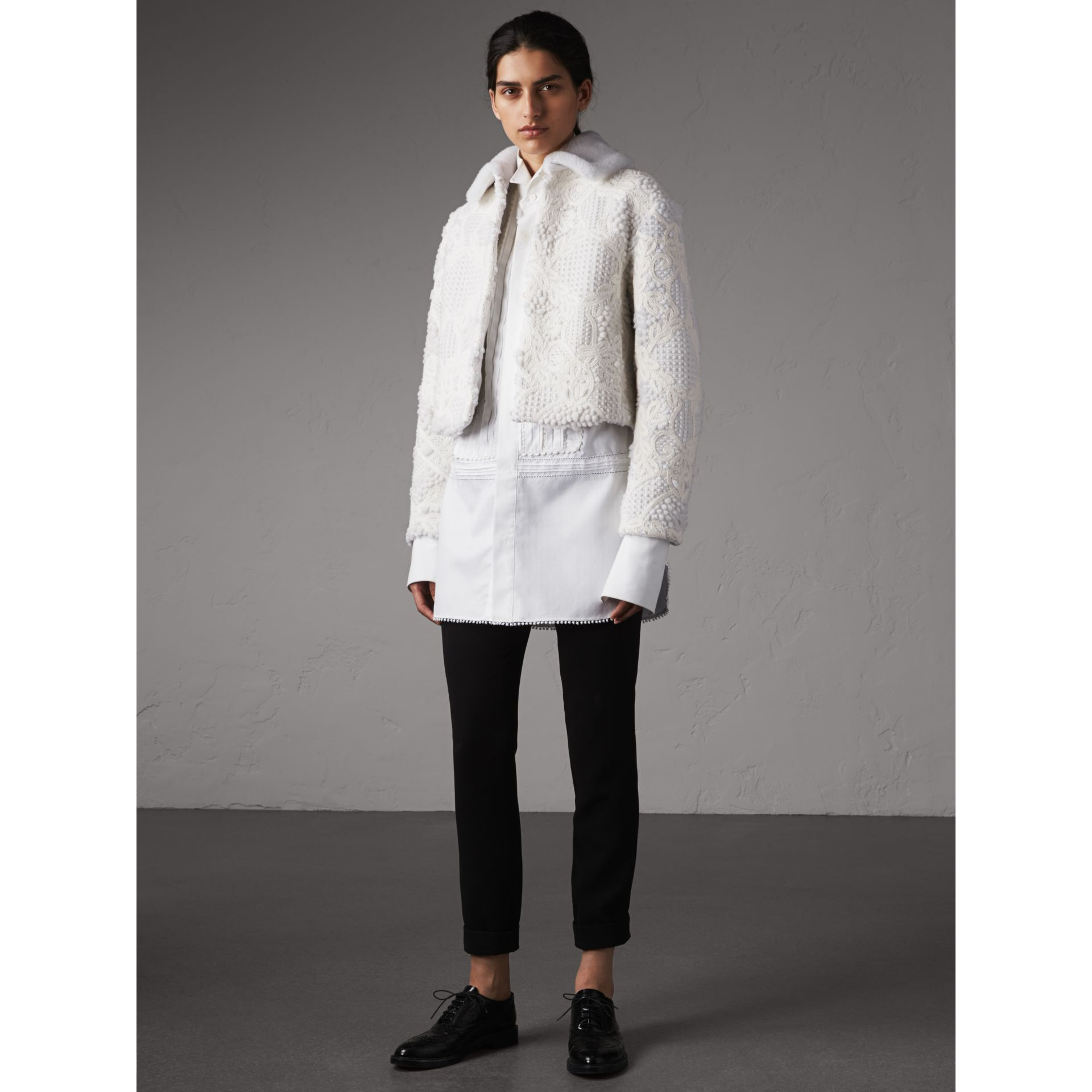 Macramé Lace-embellished Shearling Jacket in White - Women | Burberry - gallery image 5