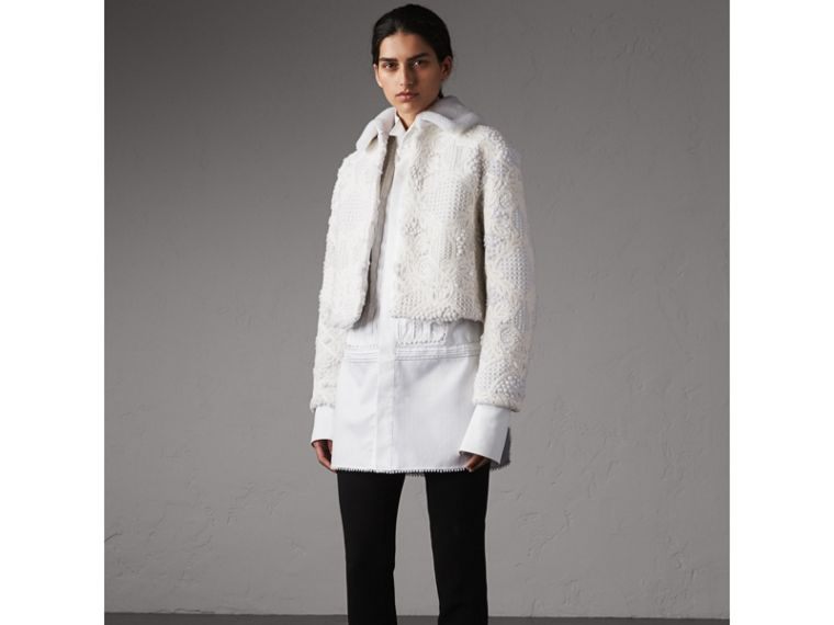 Macramé Lace-embellished Shearling Jacket in White - Women | Burberry - cell image 4
