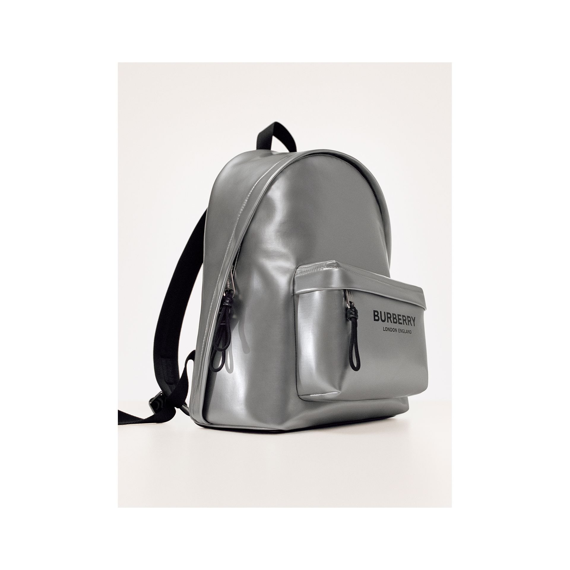 Metallic Coated Canvas Backpack in Silver   Burberry United States - gallery image 1