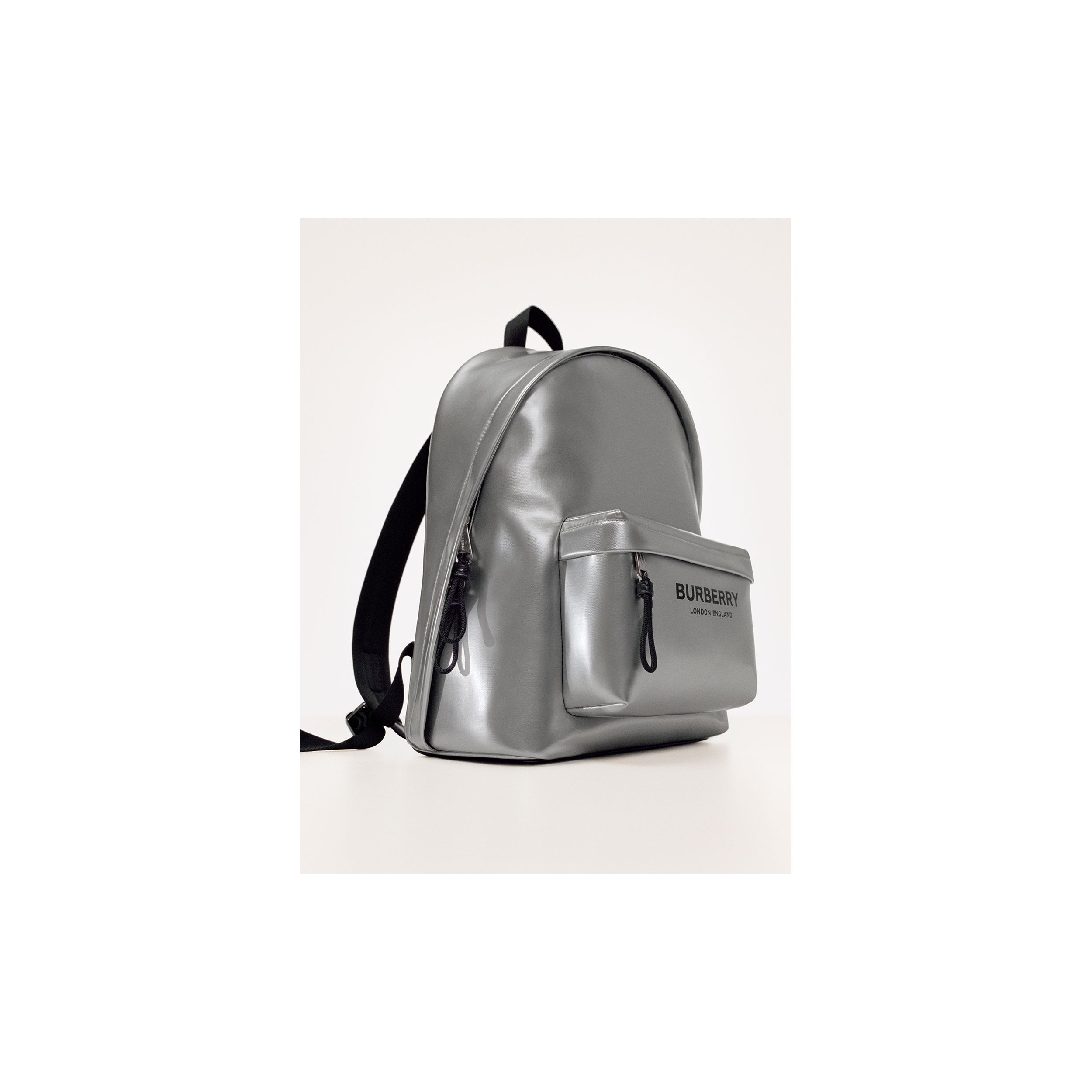 Metallic Coated Canvas Backpack in Silver | Burberry United Kingdom - 2