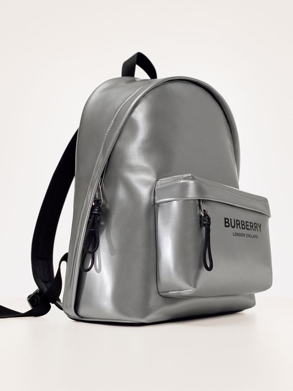 Metallic Coated Canvas Backpack in Silver   Burberry United States - cell image 1