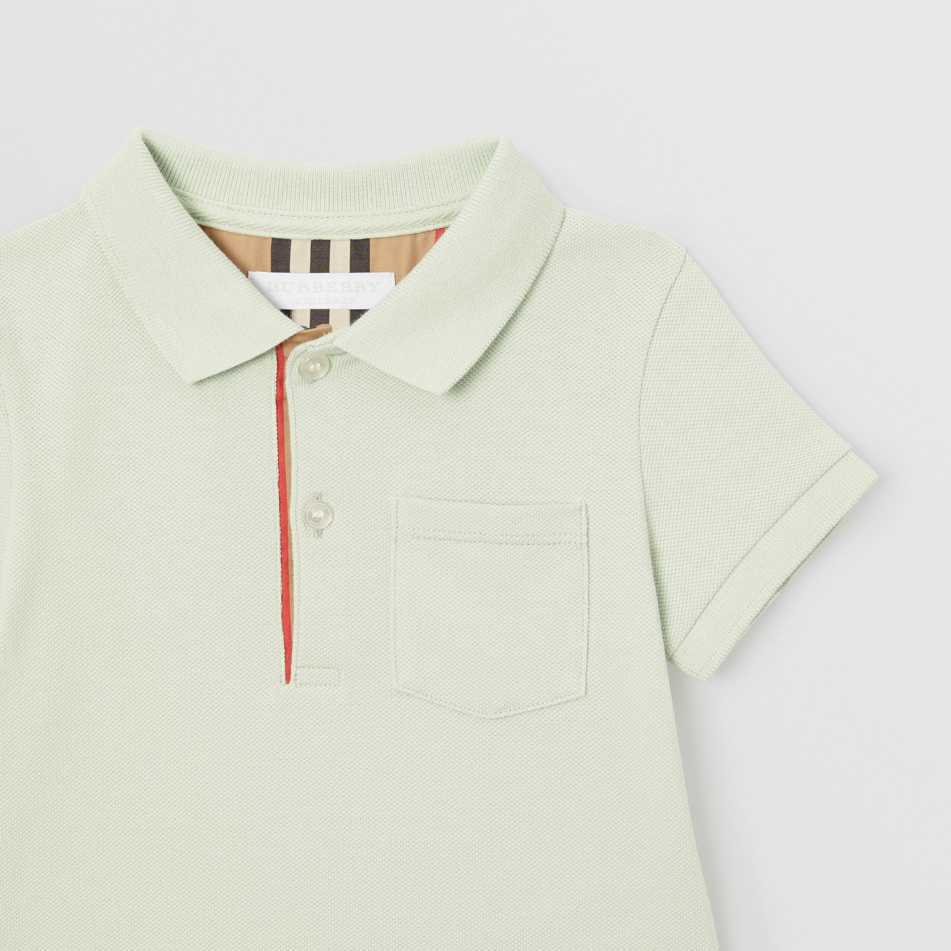 Icon Stripe Placket Cotton Piqué Polo Shirt in Pale Mint - Children | Burberry Singapore - gallery image 4