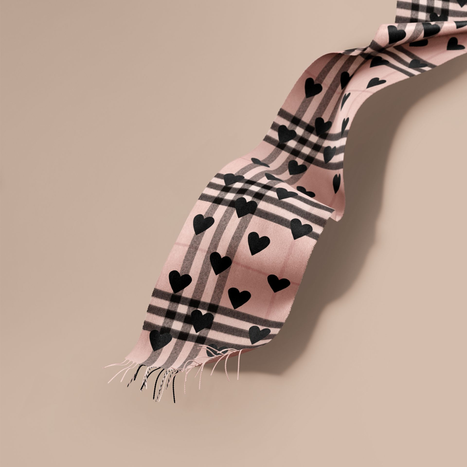 The Classic Cashmere Scarf in Check and Hearts Rose/black - gallery image 1