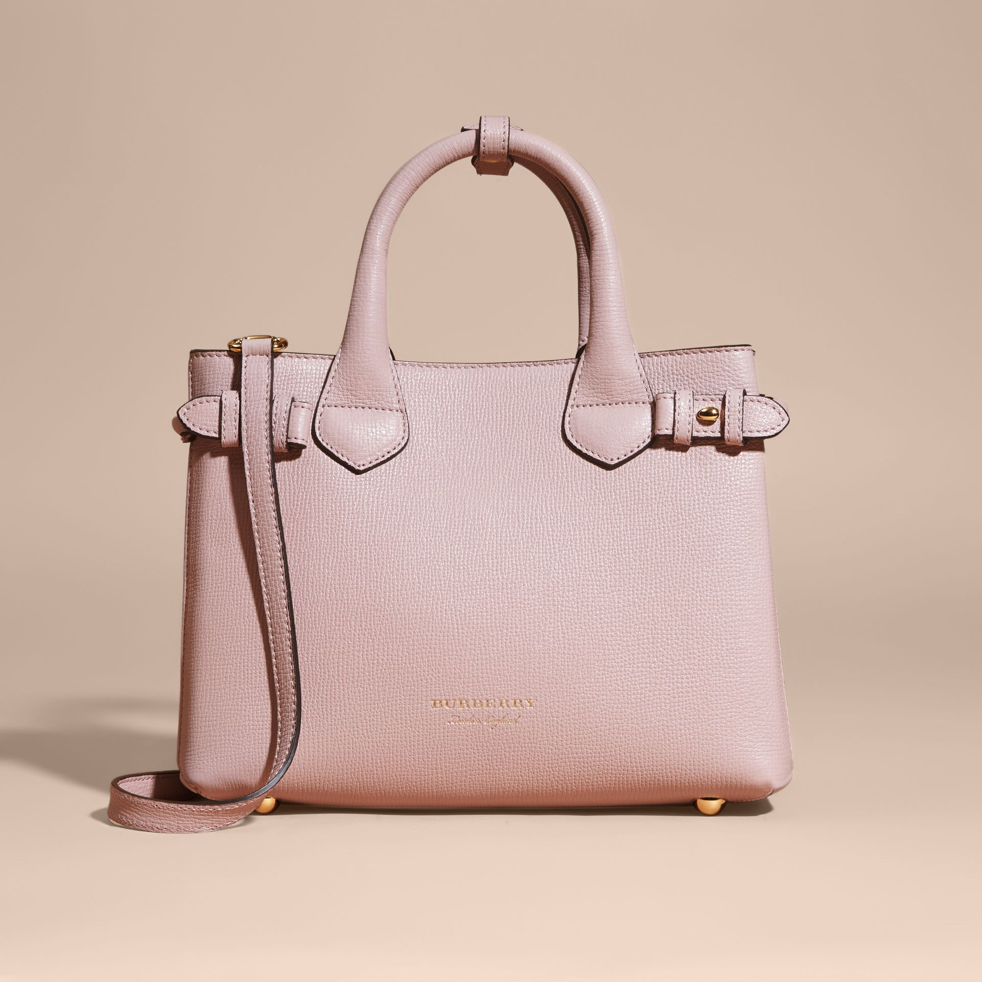 The Small Banner in Leather and House Check in Pale Orchid - Women | Burberry - gallery image 7