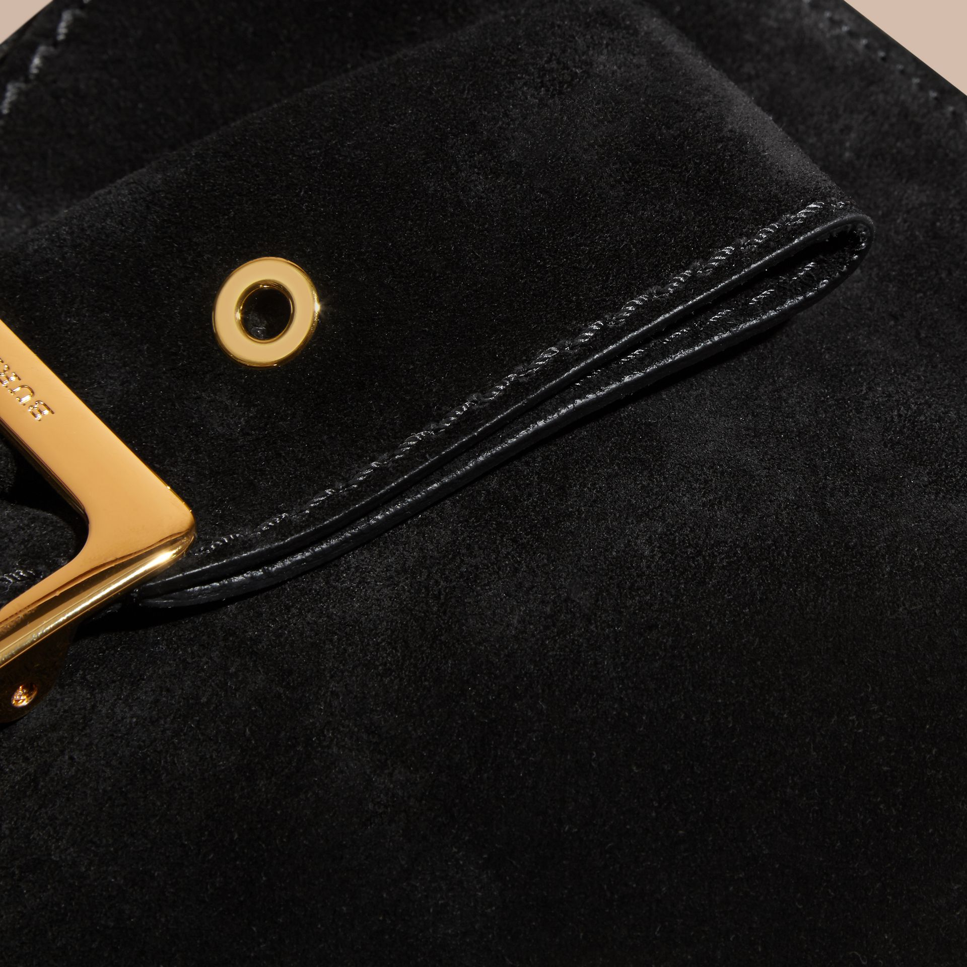 Black Suede Clutch Bag with Buckled Bow Detail Black - gallery image 2