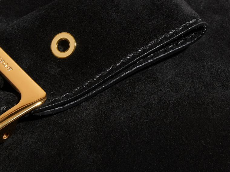 Suede Clutch Bag with Buckled Bow Detail in Black - cell image 1